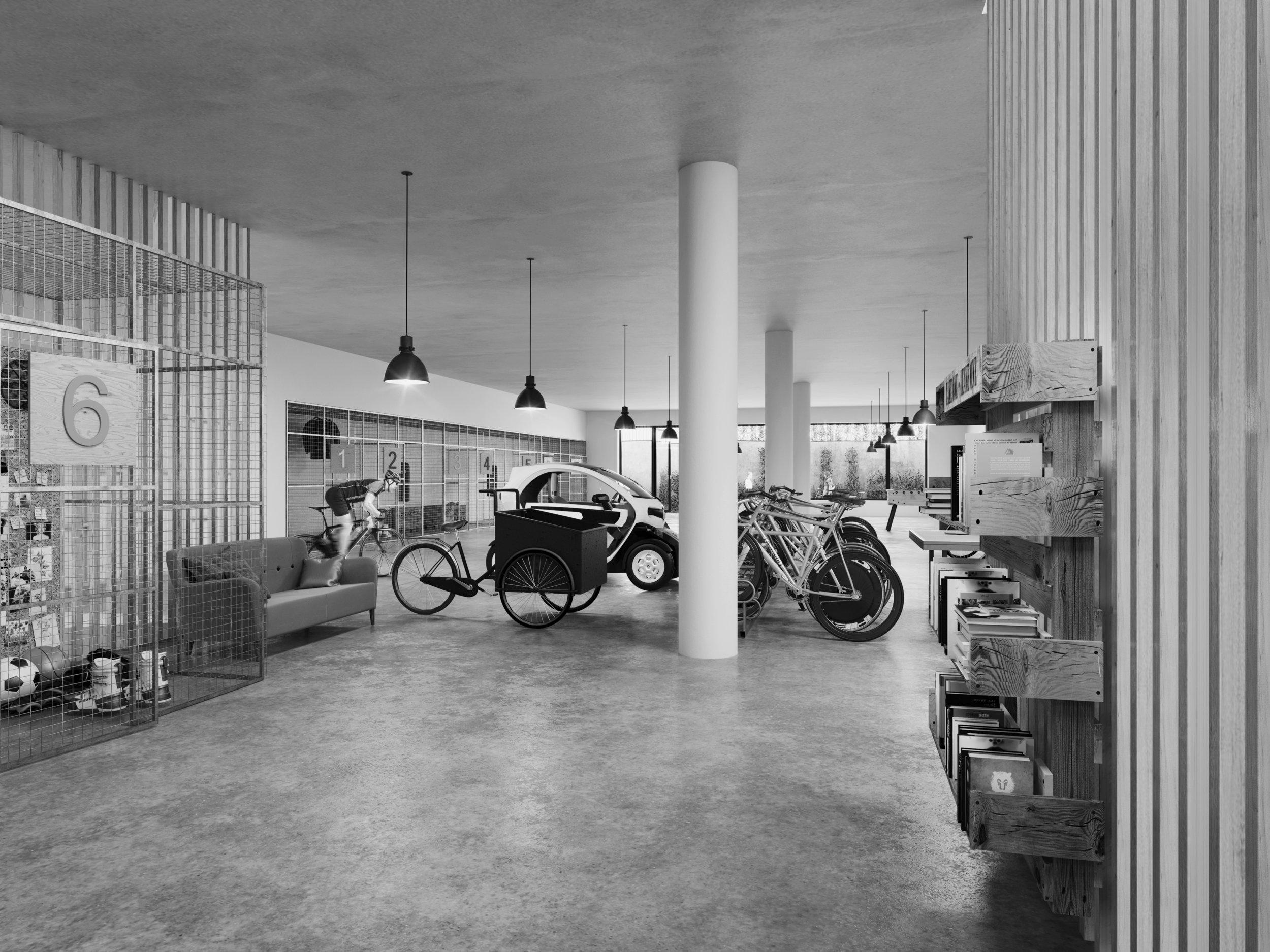 Hallen  - Flexibla uppställningsplatser för fordon. Illustration Studio superb