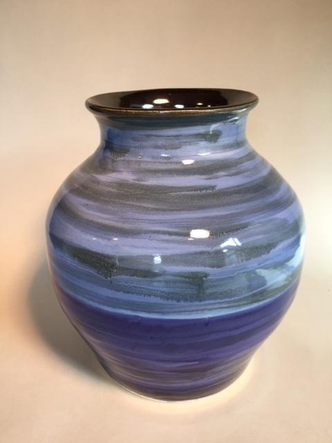 """Ocean"", large stoneware vase with multi color glaze, by Colleen Vanderhoef"