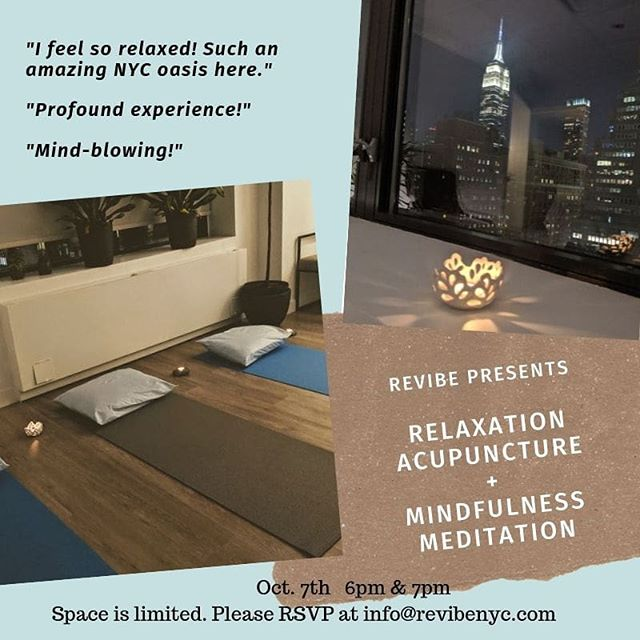 Thank you everyone who came to our first Relaxation Acupuncture & Mindfulness event! What an amazing evening spent together to breathe deeply and connect to  the inner peace and strength. We will be holding this event again on 10/7! Please don't miss this opportunity to let yourself  experience something profound.