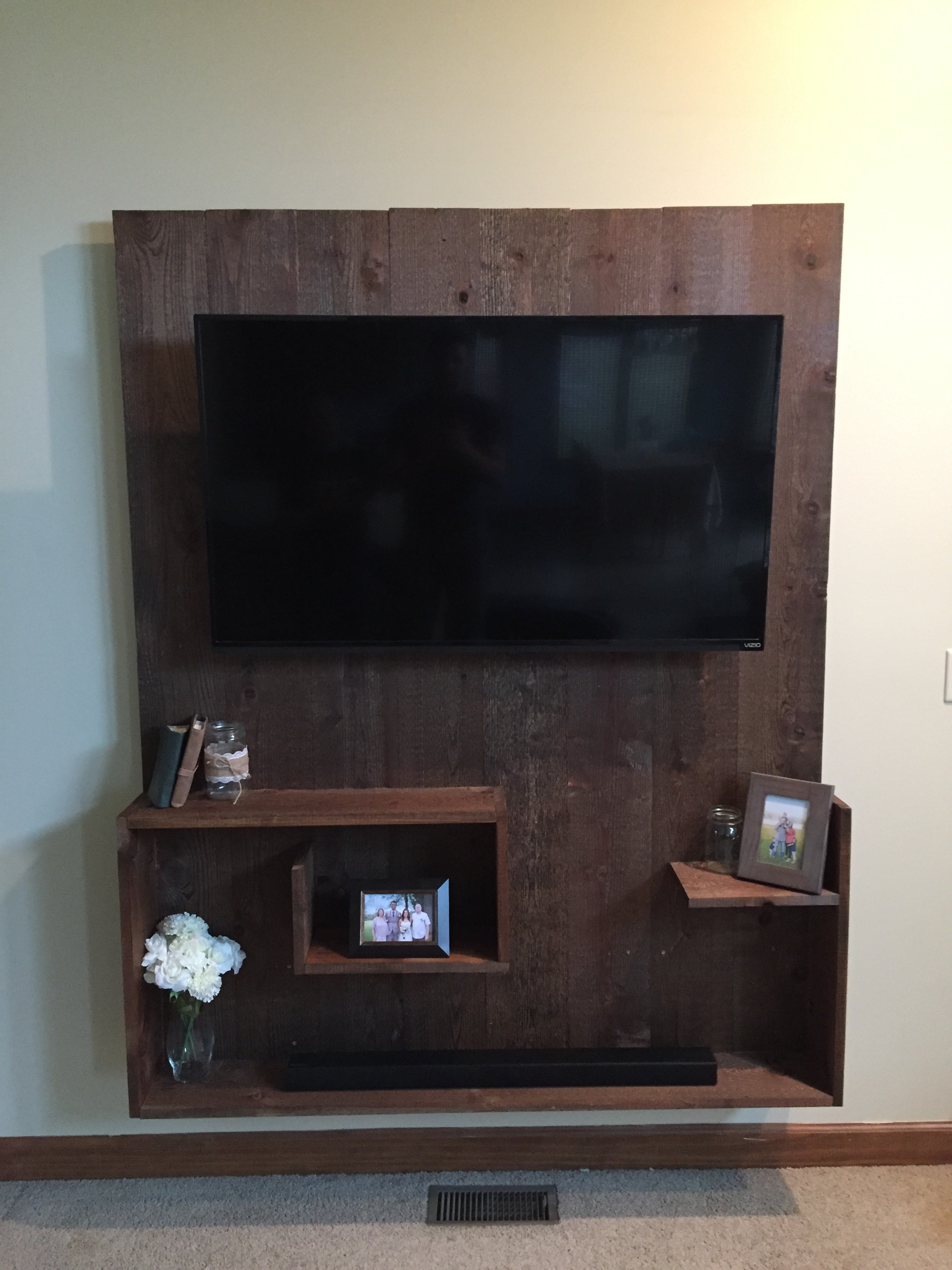 Mounted TV Stand with Floating Shelves