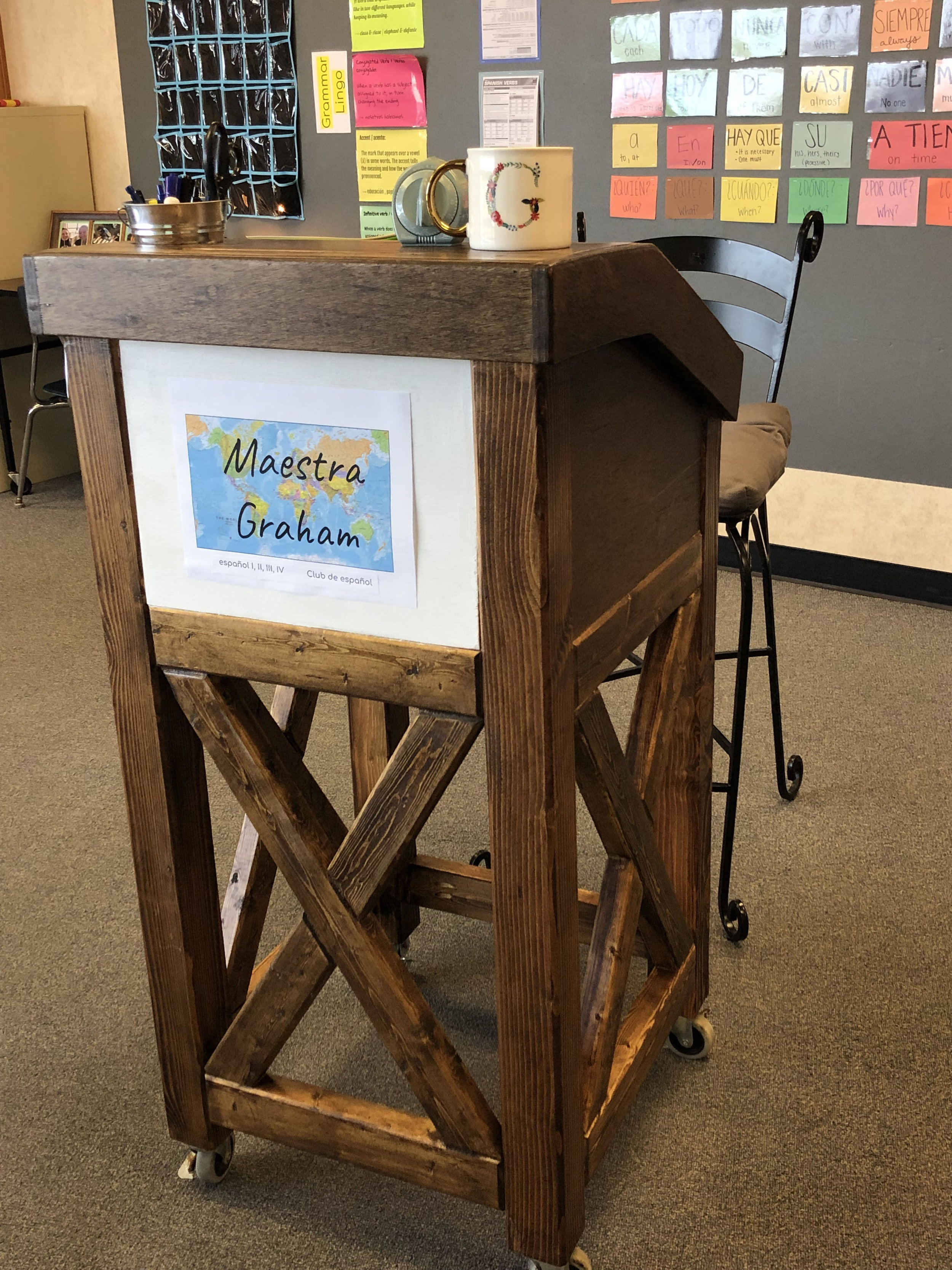 Rustic Farmhouse Teacher's Podium