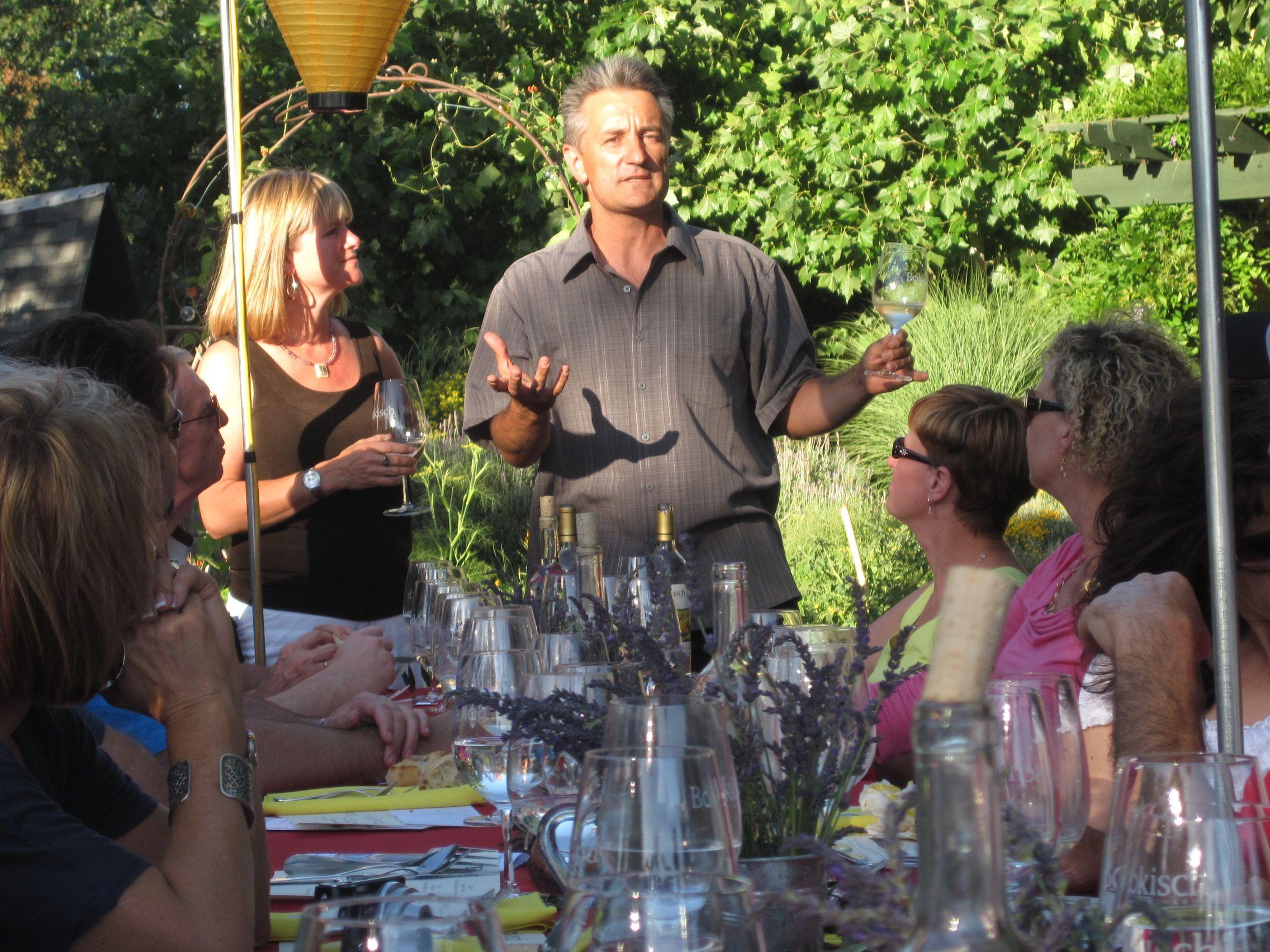 Liz and Markus Bokisch of Bokisch Vineyards hosting a dinner in the vineyards