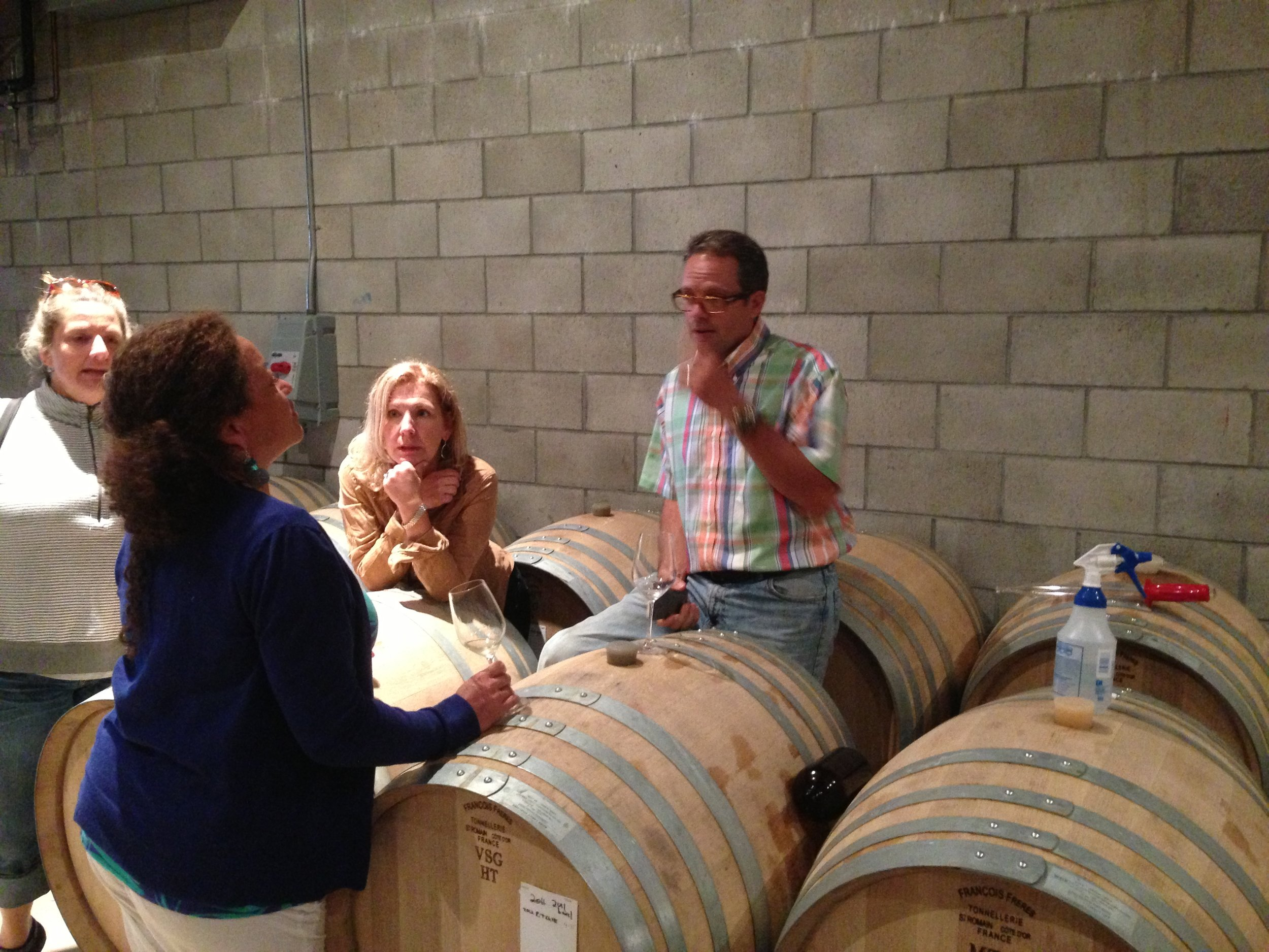 "Barrel tasting with Pete & Cathy Seghesio in their ""garage winery"""