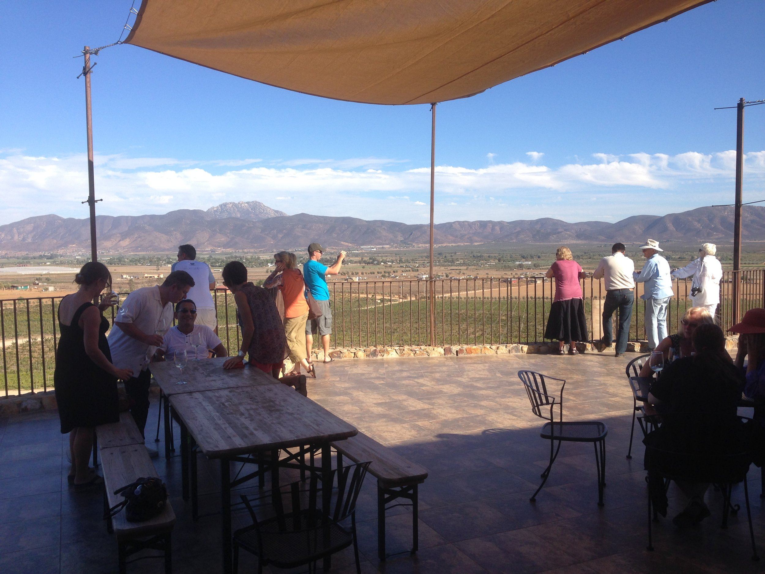 Enjoying the view and the wine at Las Nubes