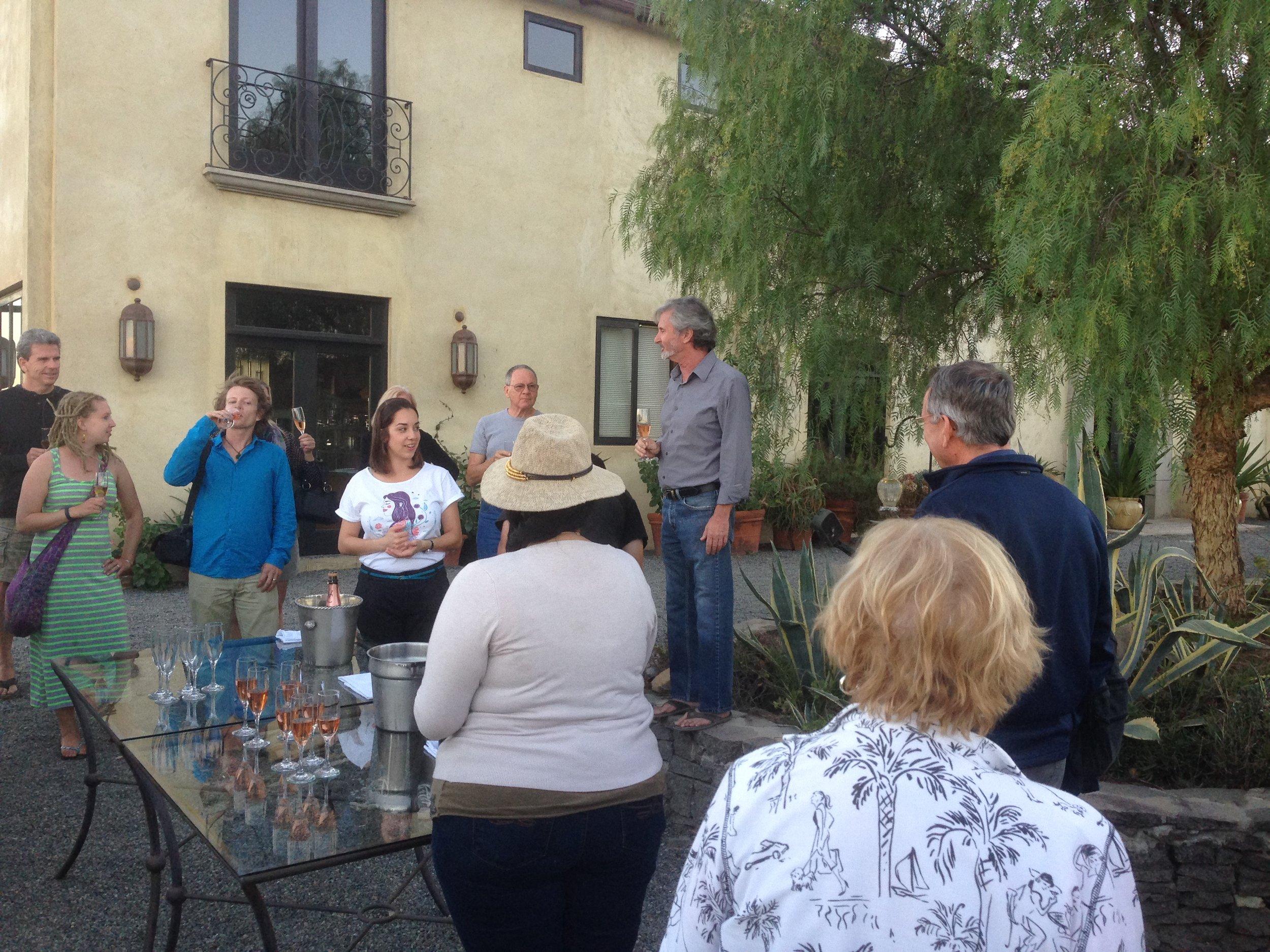 Bubbly reception with Phil Gregory at La Villa de Valle