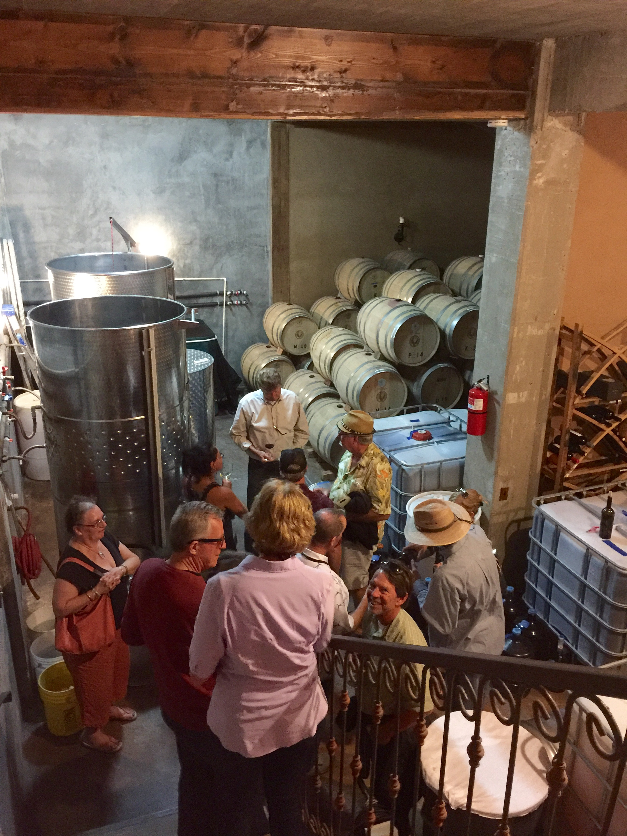 Ray giving out barrel samples in the barrel room at Lechuza.