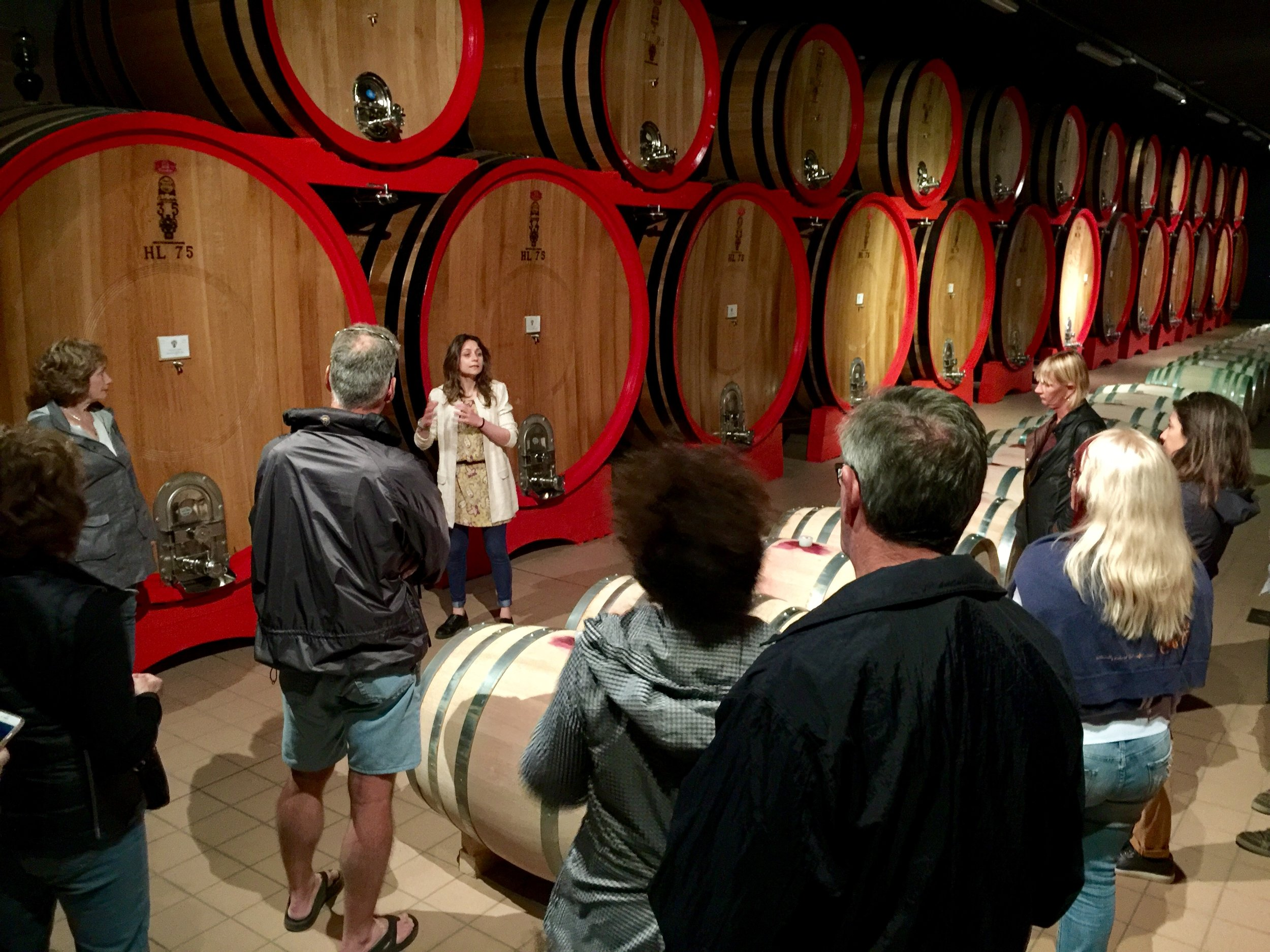 Barrel room at Ciacci Piccolomini winery.