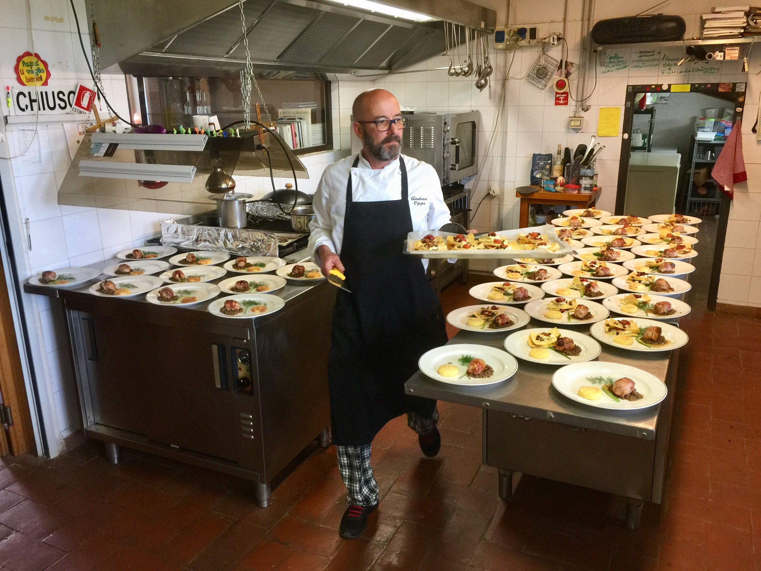 Chef Andrea Oppo of Le Contrade di Vinci in Gaiole in Chianti preparing an amazing lunch.  Upon arrival we were also greeted with fresh rosemary gin tonics!