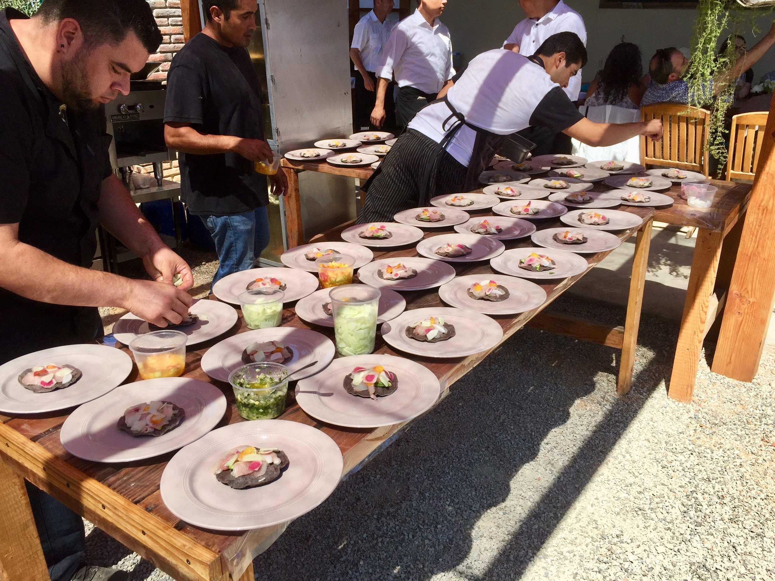 Restaurante Laja's staff plating at the finale Lechuza lunch
