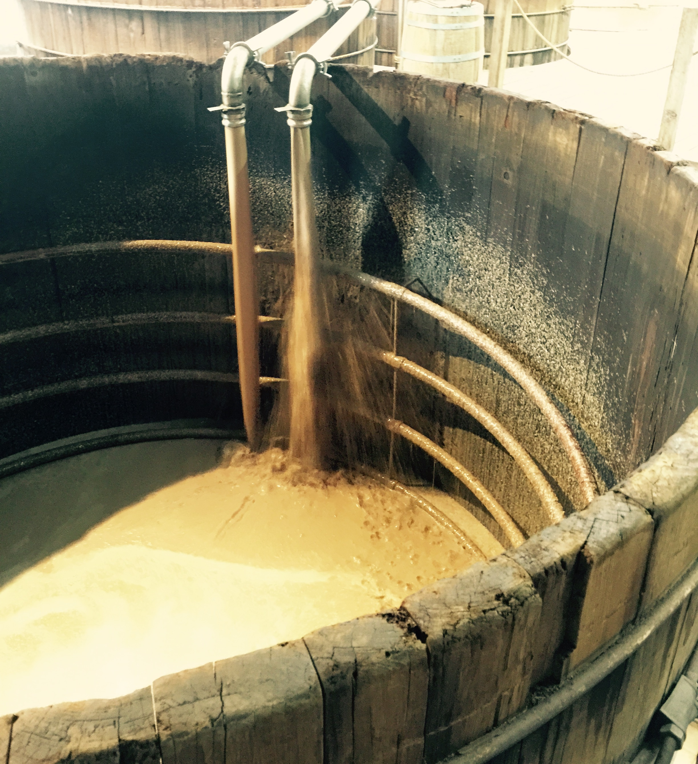 Filling the mash tubs at Woodford Reserve.