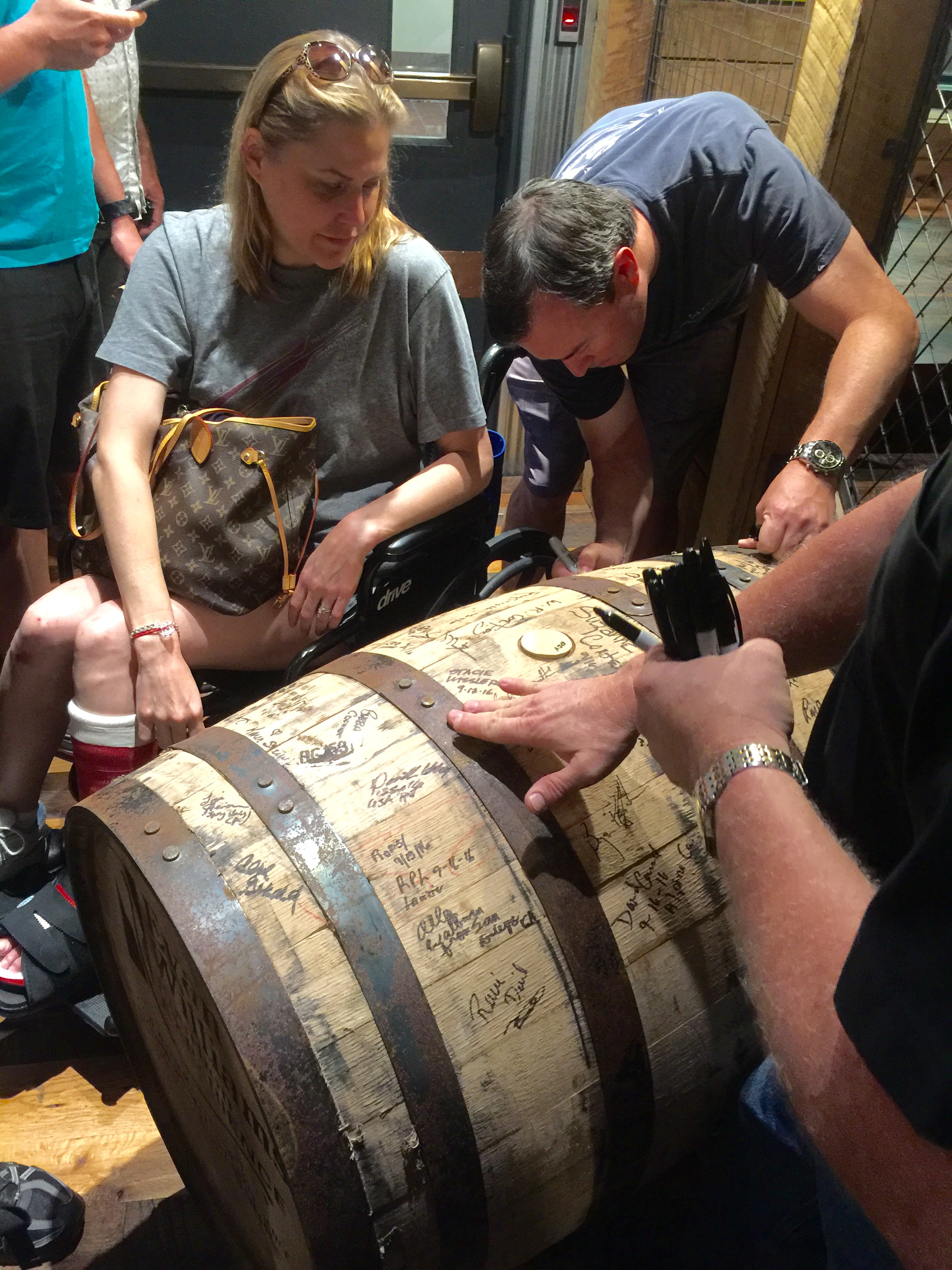Signing barrel #667 at Evan Williams Bourbon Experience - a micro distillery that only produces one barrel a day.
