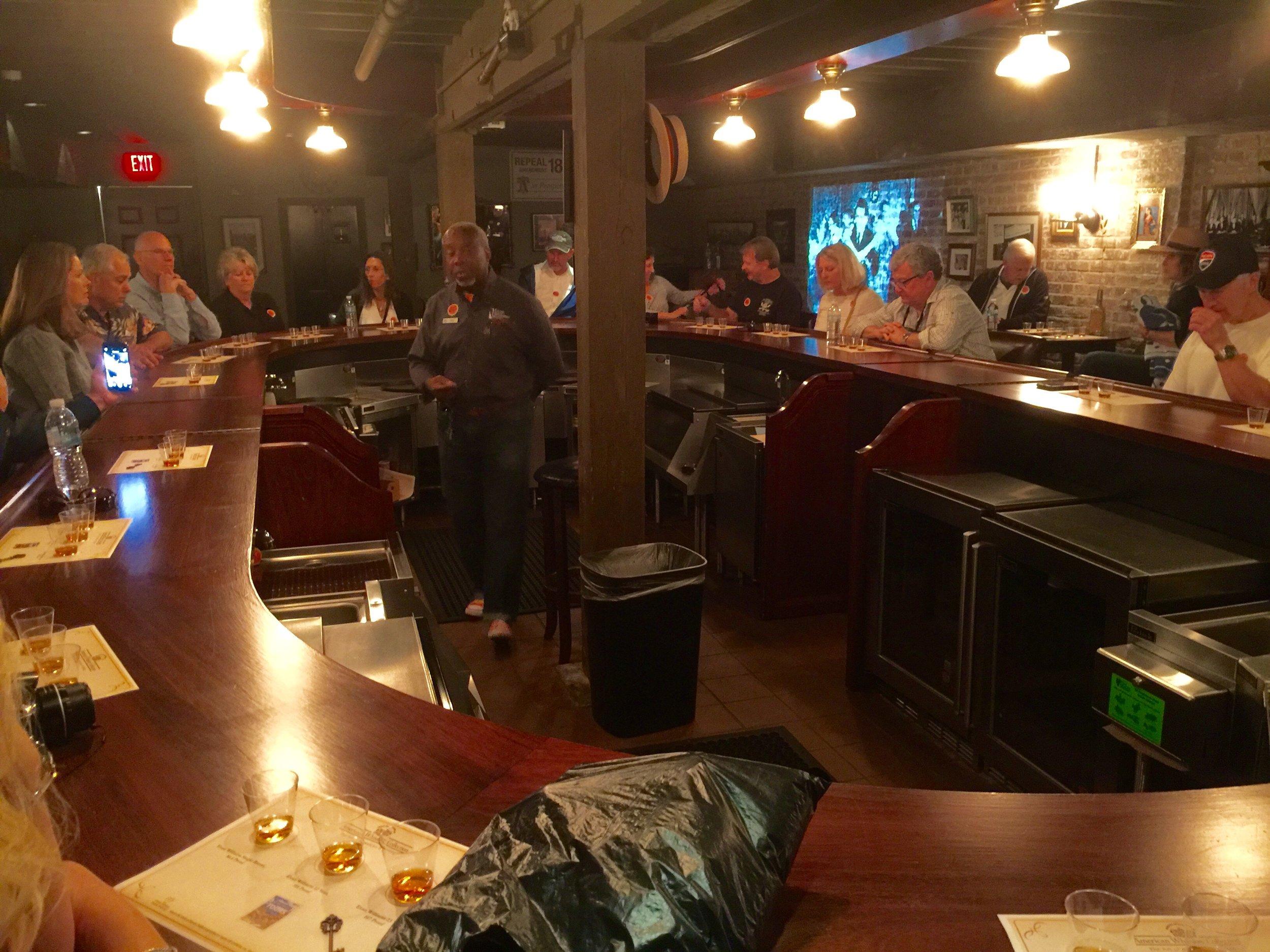 Premium bourbon tasting in the secret underground speakeasy bar at Evan Williams.