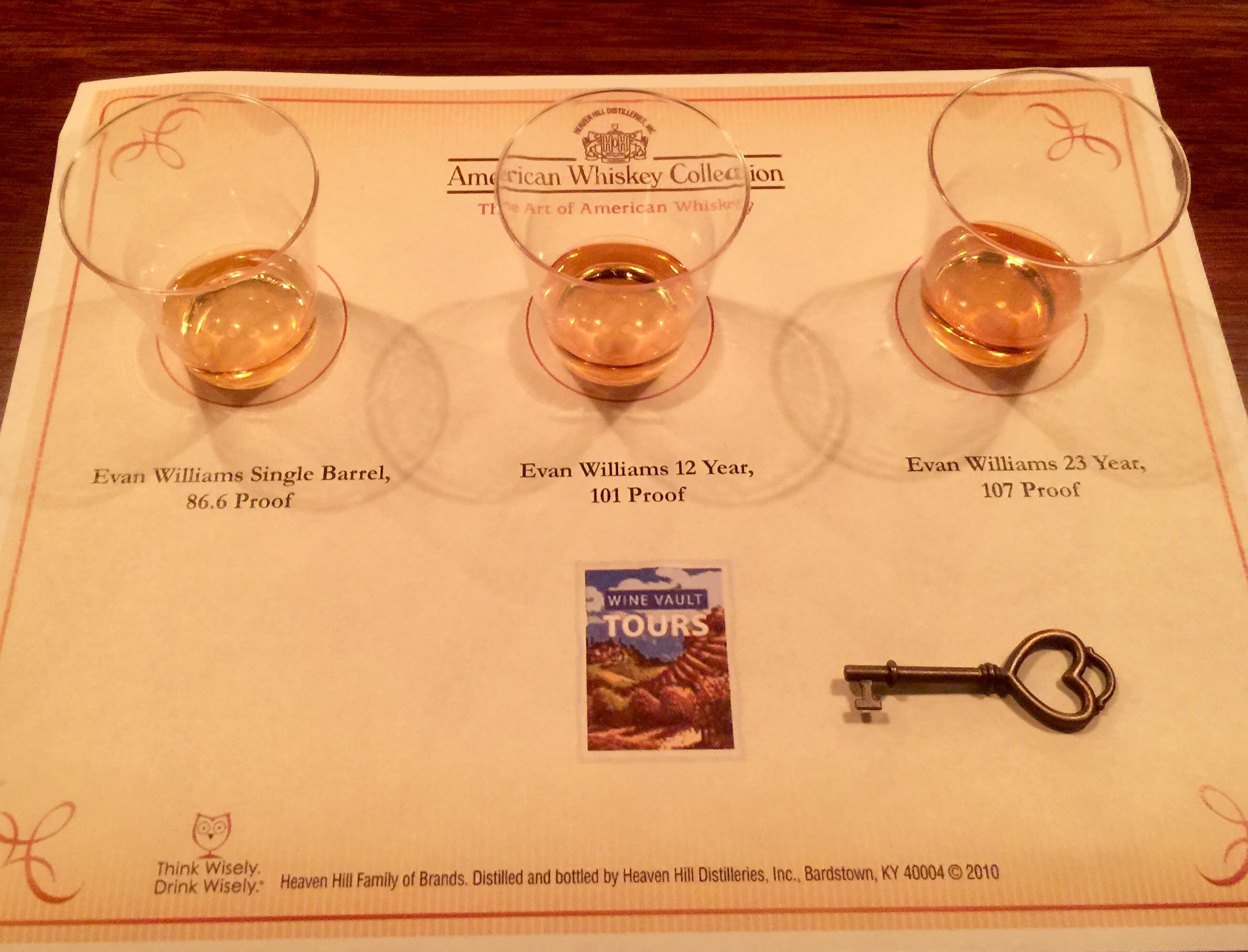 Wow!  What a line-up!  Drinking the really, really good stuff (including a 23-year-old) at the Evan Williams speakeasy bar.