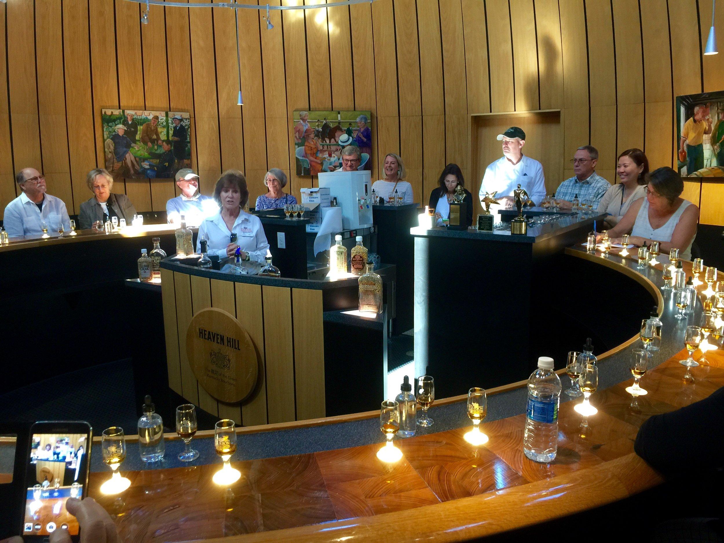 Premium Bourbon tasting in the barrel room bar at Heaven Hill.