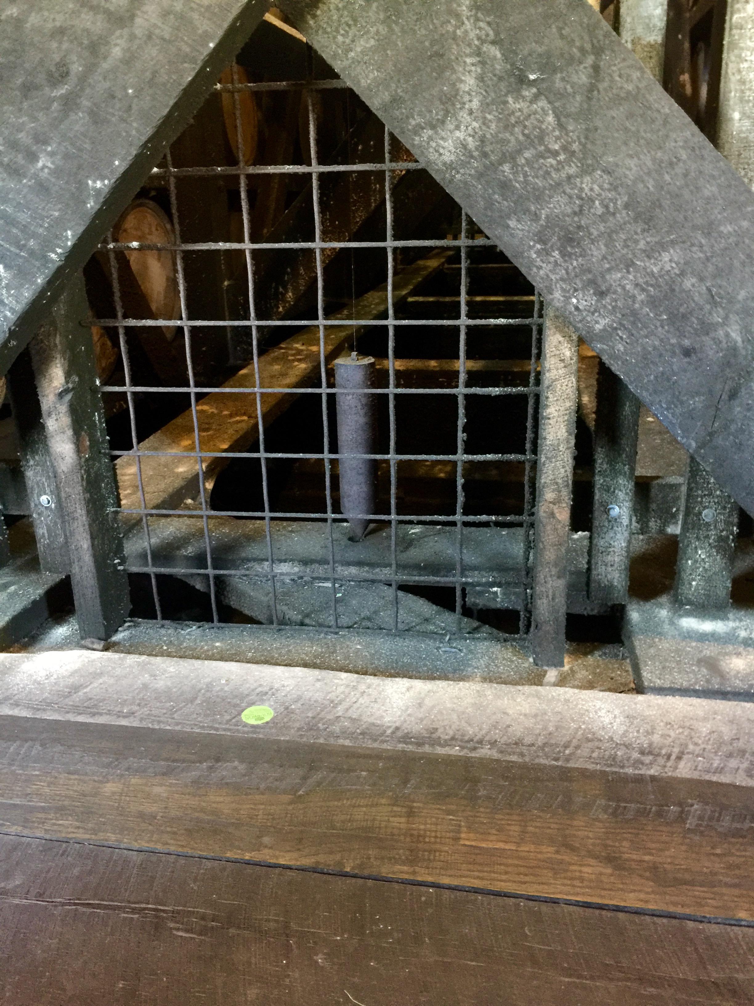 Plumb bob in a rickhouse at Heaven Hill.