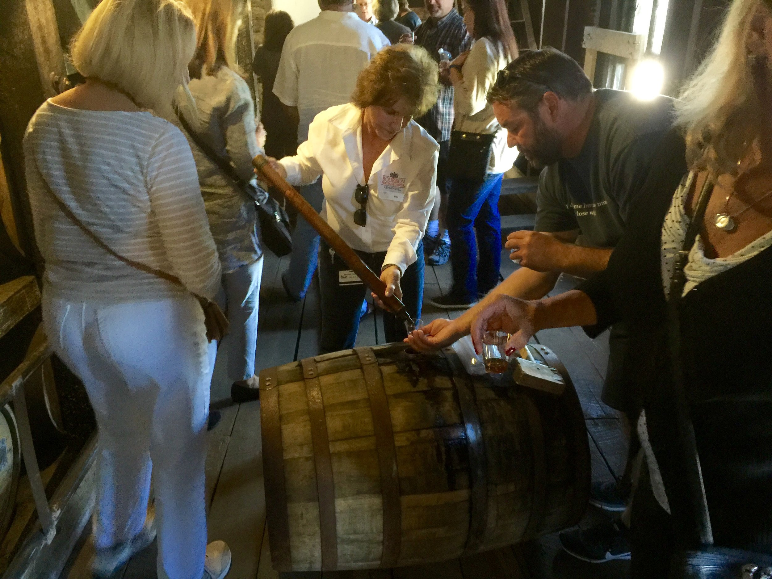 Tasting straight uncut (140+ proof) 10-year-old Bourbon straight out of the barrel at Heaven Hill.