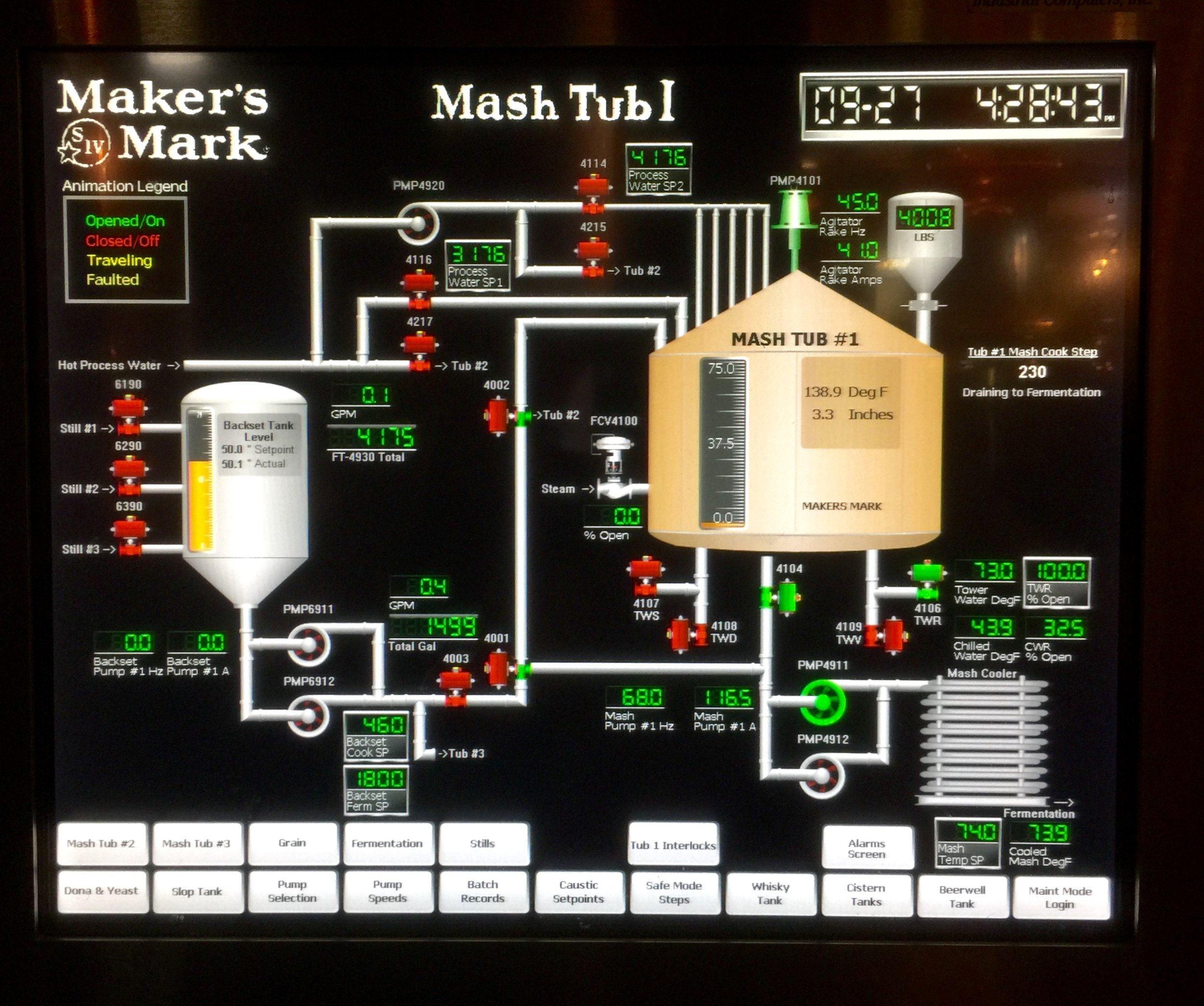 Like most modern distilleries, everything is controlled by a computer.  Here's a screen shot of what was going on in Mash Tub 1 when we visited Maker's Mark.