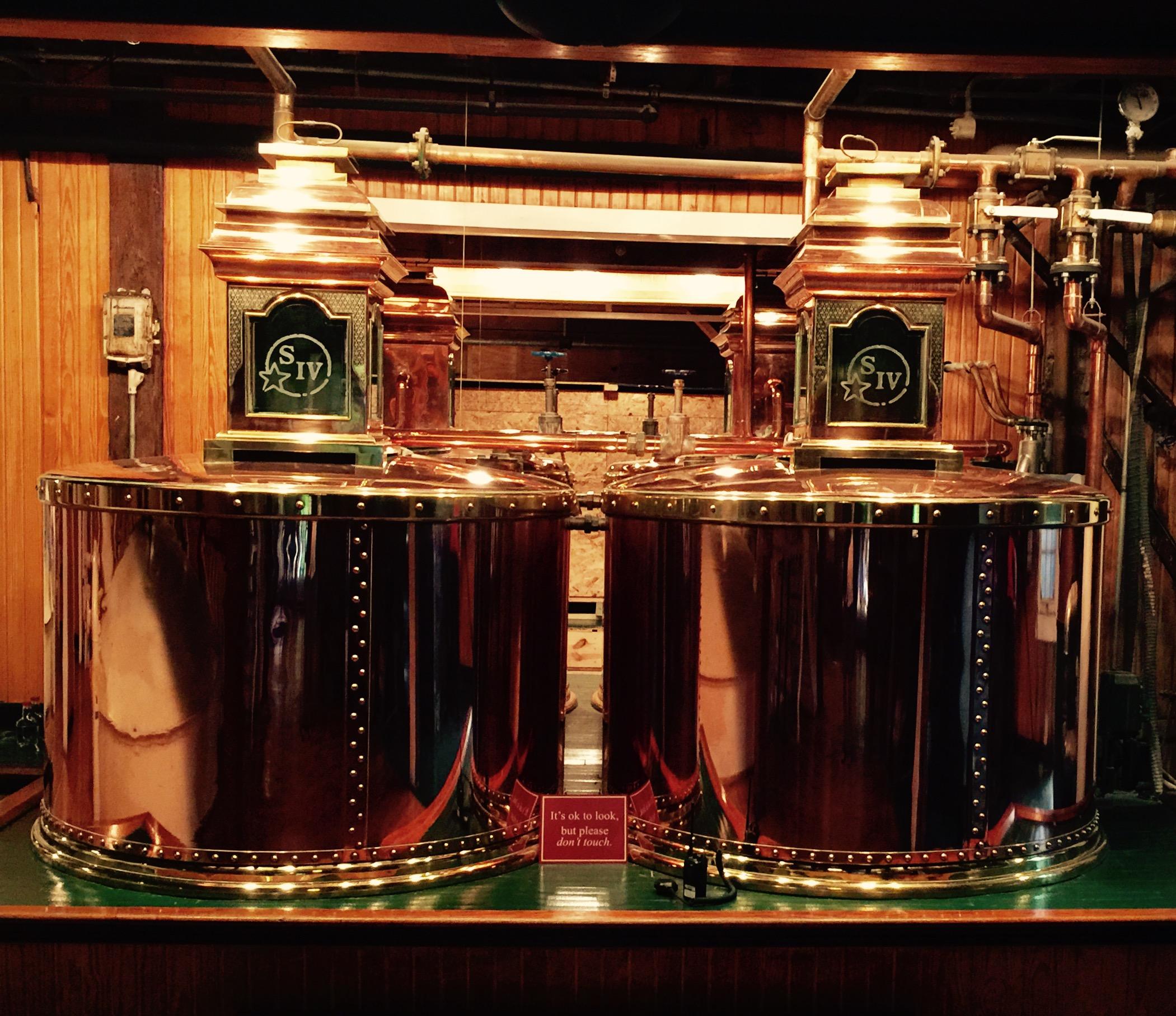 Polished copper stills at Maker's Mark.