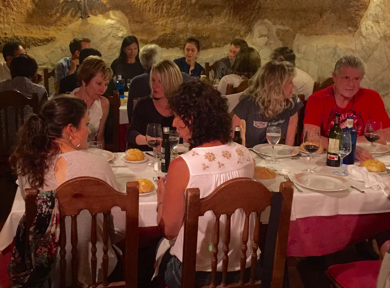 Dinner in the caves at El Lugar de San Vincente in Penafiel.