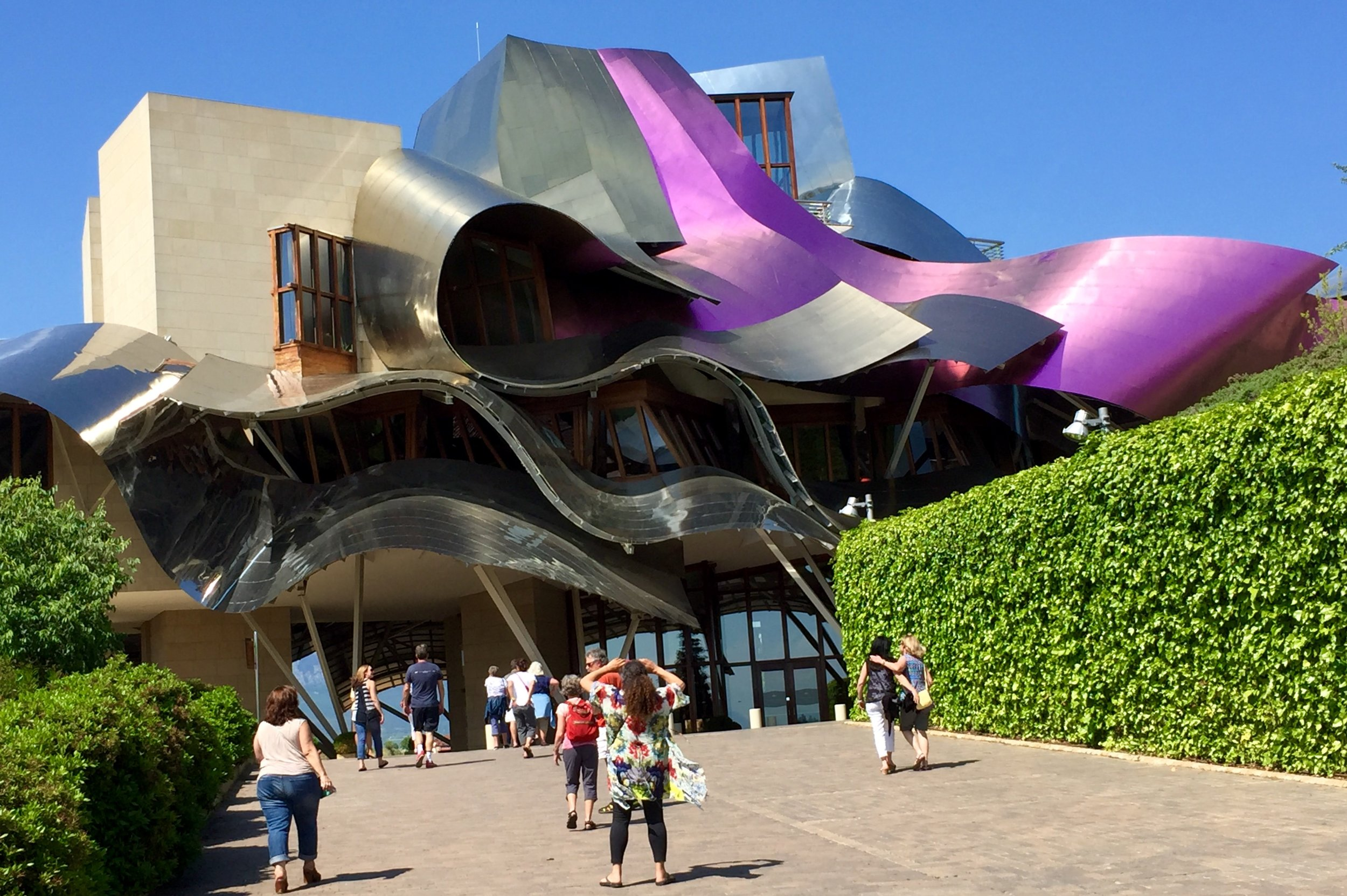 Close up of the famous Frank Gehry designed hotel at Marquis de Riscal Winery in Rioja.