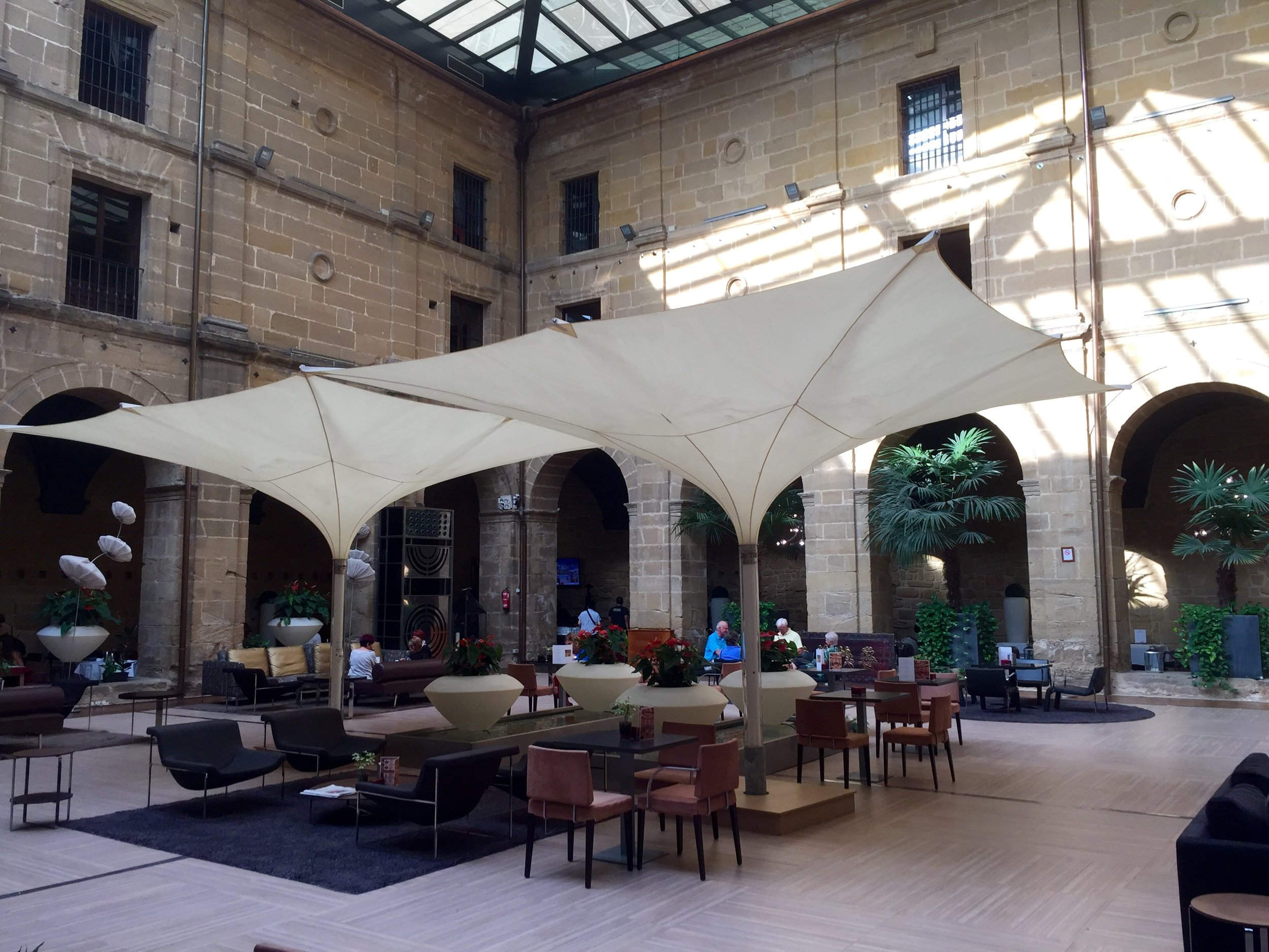 Center courtyard of Los Agustinos, our hotel in Haro, Rioja.