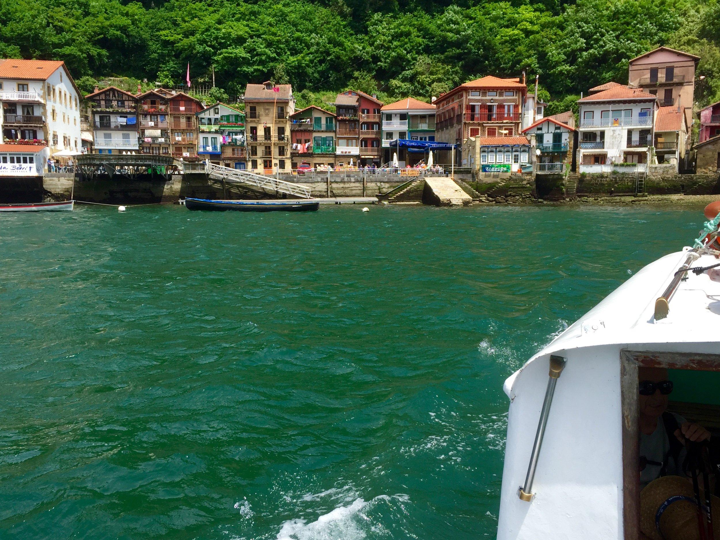 Taking the water taxi across the harbor from San Sebastian to Restaurante Ziaboga in Pasajes de San Juan.