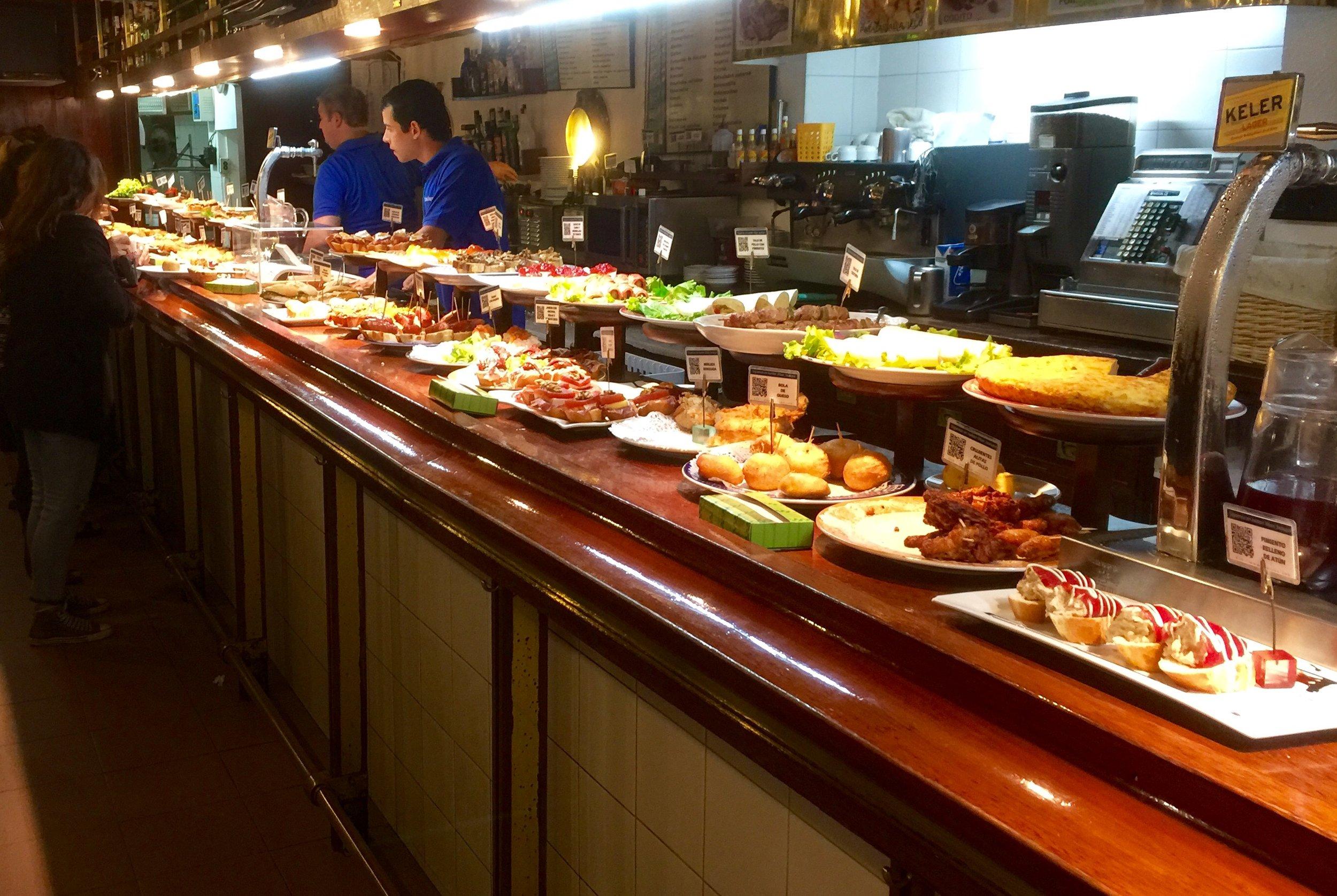 Typical pintxos bar in San Sebastian.