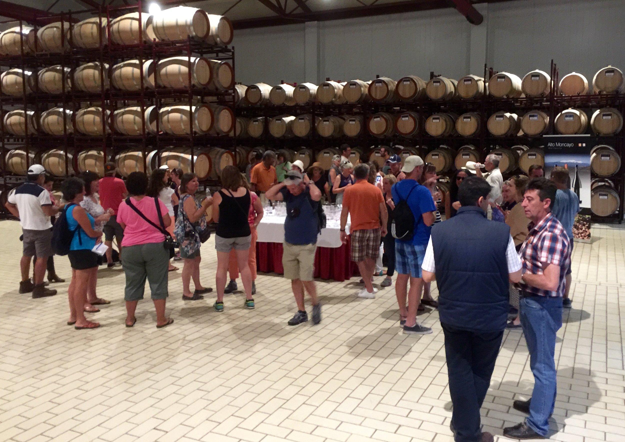 Barrel tasting at Alto Moncayo Winery in Campo Borja.