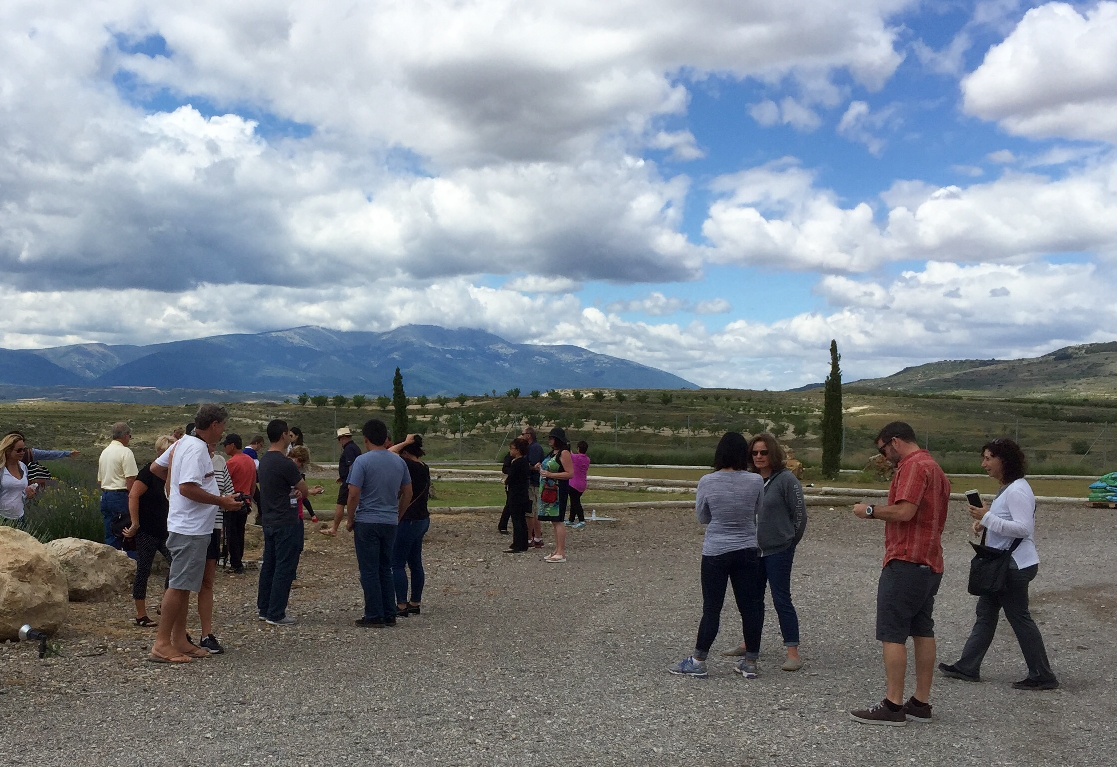 """At Alto Moncayo Winery in Campo Borja with """"Tres Picos"""" (the three peaks of Moncayo Mountain and also the namesake of the famous Borsao Garnacha) in the background."""