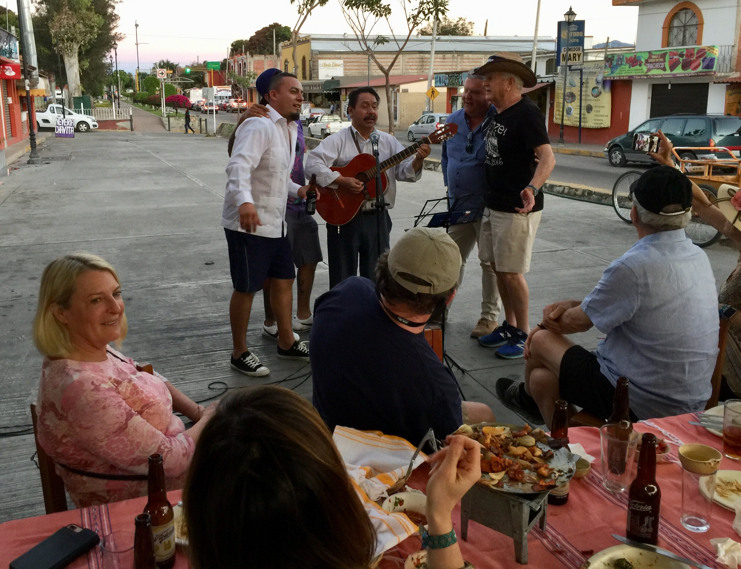 Impromptu karaoke after dinner in the parking lot at La Soledad.
