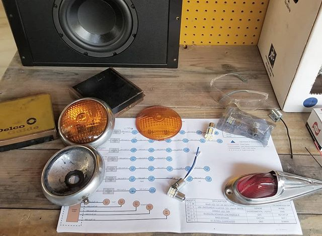 Beyond chuffed to find NOS replacement GLASS lenses for our top secret 1959 Micro Mack project. Thank you internet. They don't make em like that any more. Rebuilding these lamps with new, isolated sockets and led bulbs. BLESS!!!! 🤙🤙🤙💖