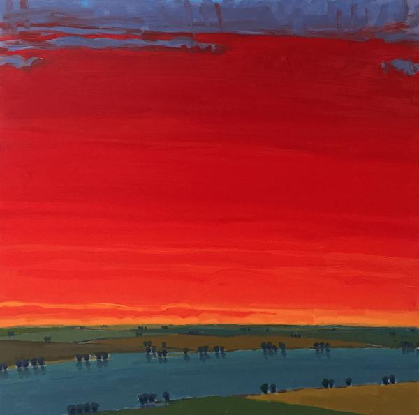 Riverside Reds, 2017, oil on panel, 24 x 24