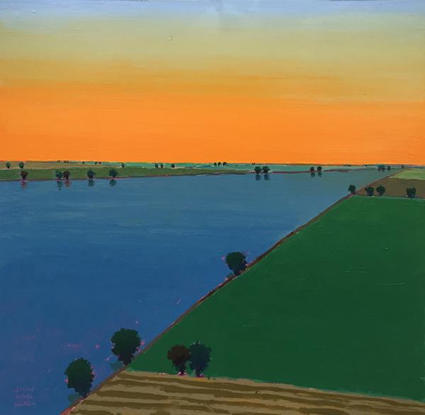 Still Summer Evening, 2015, oil on paper, 16 x 16