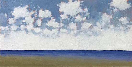Shoreline - Crisp Morning, 2018, oil on paper, 5 x 10