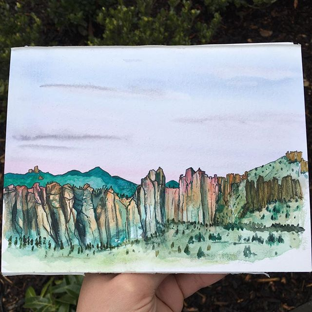 Getting back into it 🎨 Here's one from my last trip out to Smith Rock when I was lucky enough to catch a spectacular sunset. Looking forward to getting back there soon! . . . . . . . . . . . . . . . . . #art #watercolor #watercolors #watercolour #watercolours #watercolourpainting #watercolorstudy #watercolorsketch #watercolorpainting #pleinair #pleinairpainting #landscape #landscapepainting #painting #holbein #windsornewton #artgram #artistsoninstagram #instaart #instaartist #artwork #artistsofinstagram #watercolorart  #oregon #exploreoregon #qorwatercolors #danielsmith #danielsmithwatercolors