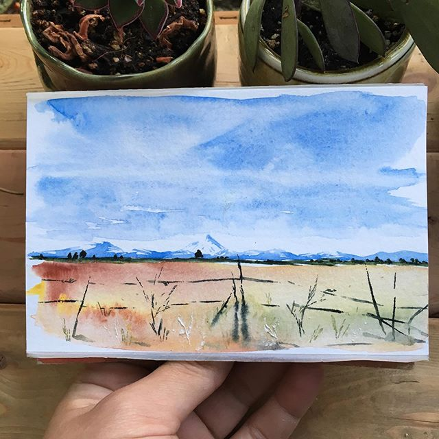 A little eastern Oregon sketch 🌞 . . . . . . . . . . . . . #art #watercolor #watercolors #watercolour #watercolours #watercolourpainting #watercolorstudy #watercolorsketch #watercolorpainting #pleinair #pleinairpainting #landscape #landscapepainting #painting #holbein #windsornewton #artgram #artistsoninstagram #instaart #instaartist #artwork #artistsofinstagram #watercolorart  #oregon #exploreoregon #qorwatercolors #danielsmith #danielsmithwatercolors