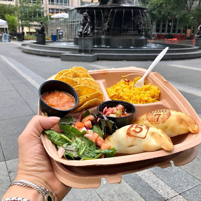 The complete Empanada Meal! Any empanadas of your choice with a side of rice, a salad, and our homemade sauce! -At @myfountainsquare every Tuesday and Wednesday from 11am-1:30pm!