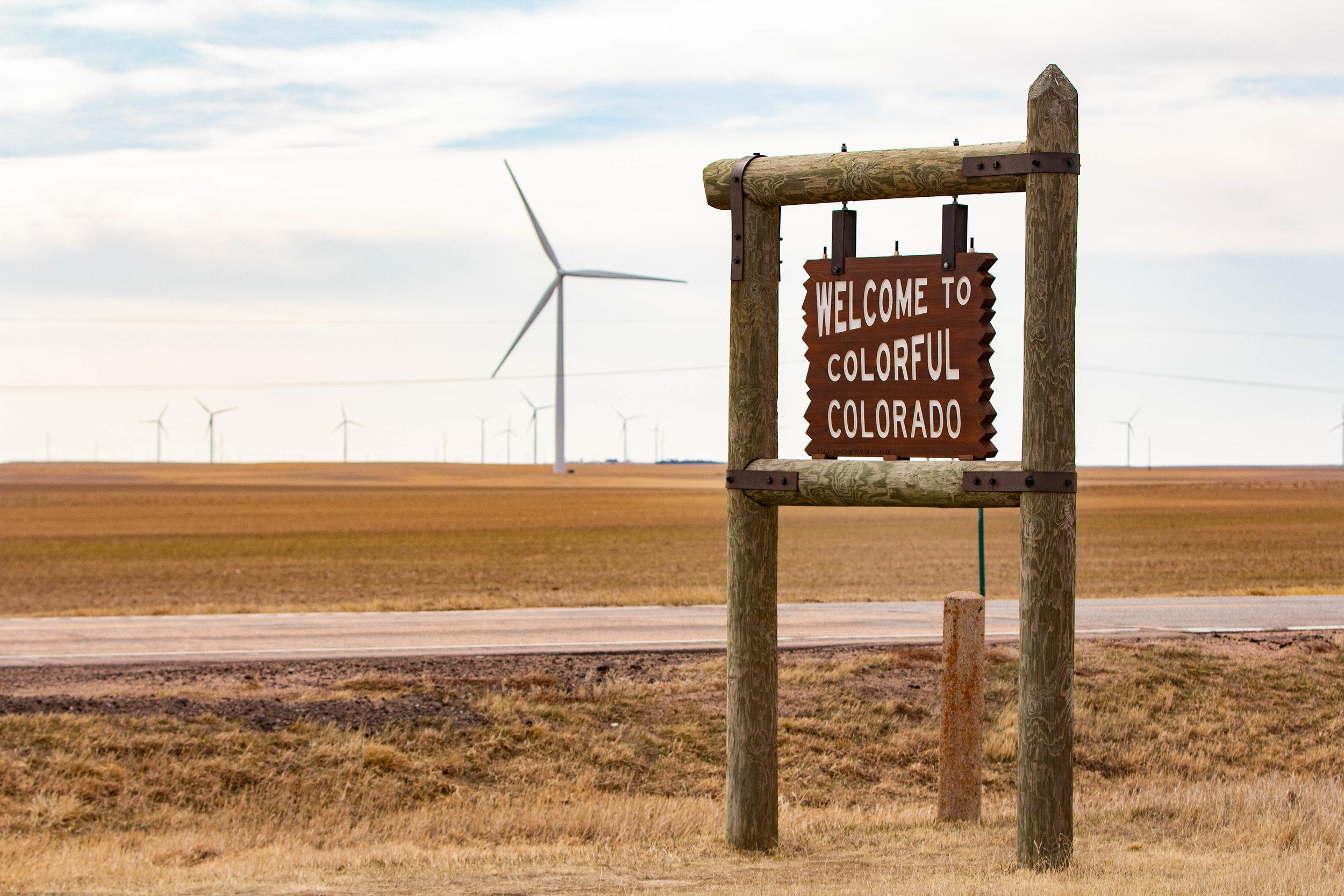 Colorado/Nebraska border in Peetz, CO (CDOT Sign Shop 11-7-16 sn: 44 DS)