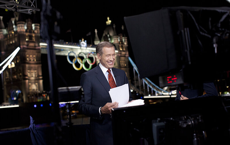 Brian Williams anchoring NBC Nightly News in London during the 2012 London Olympics. (Photo taken by Anthony Quintano)