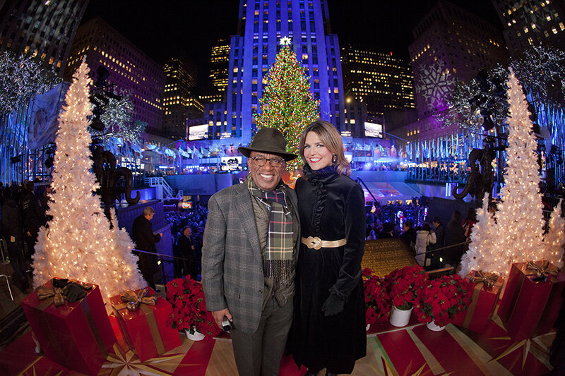 Al Roker and Savannah Guthrie hosting the Rockefeller Christmas Tree Lightning for NBC in 2012 taken by Anthony Quintano