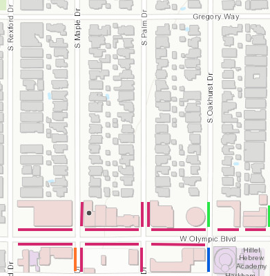 Un-metered spaces are available one block north of Olympic Blvd. on Gregory Way.