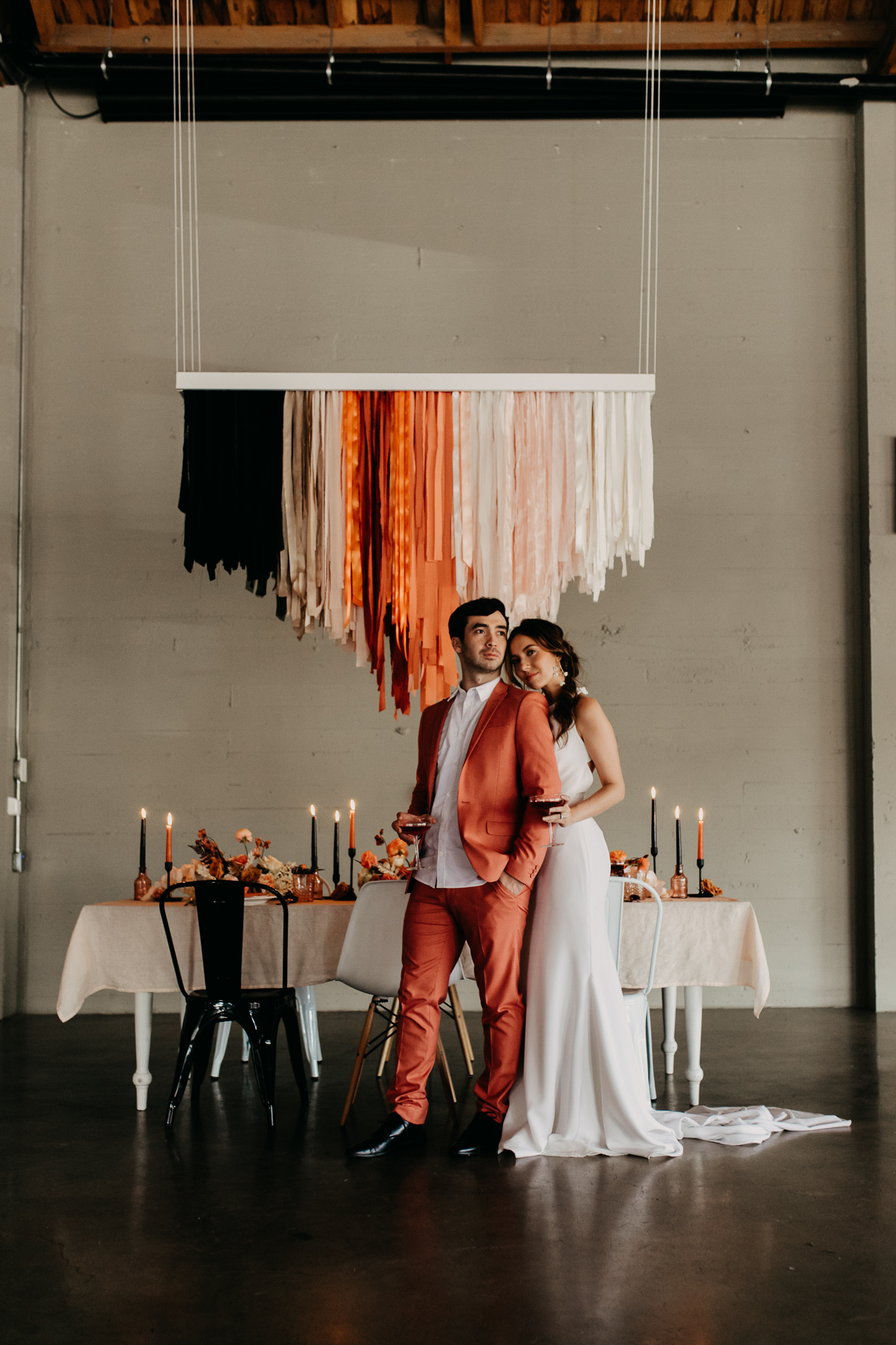 Coral-Black Themed Wedding - The eleanor, portland