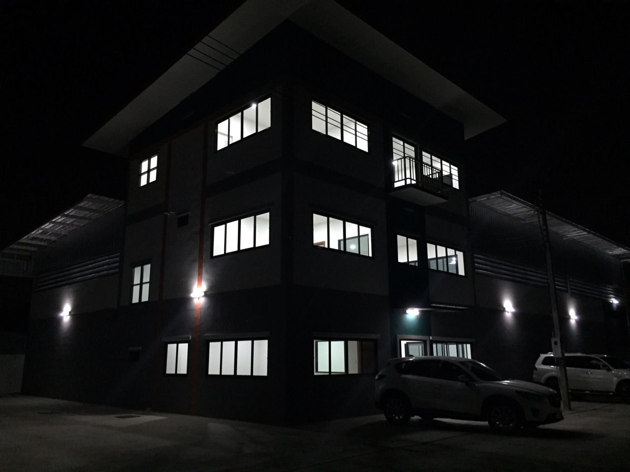 One of our three hangers at the facility, at night.