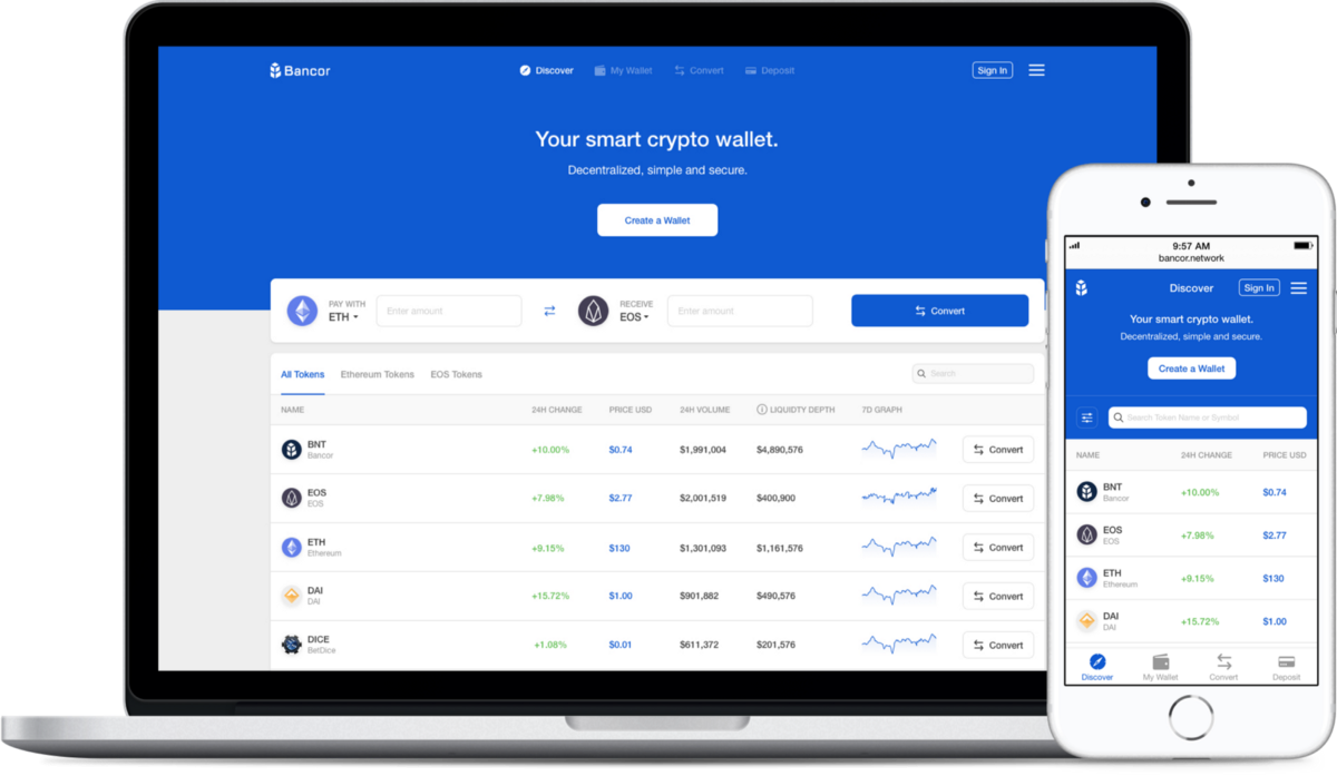 Bancor's Unified Wallet for cross-chain tokenswaps