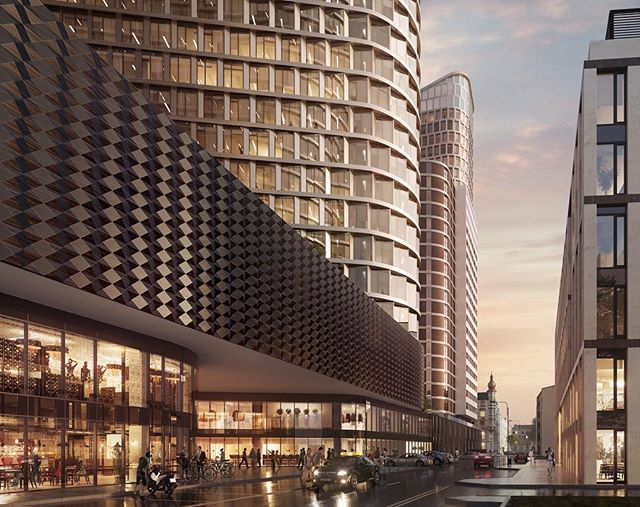 Afternoon in gold. #Global by #cavatina #office #residential #retail #realestate #propertybranding #visualization #archviz #3d #3dstudiomax #vray #urban #urbanjungle #architectureporn #renderoftheday #render #skyscraper #placemaking