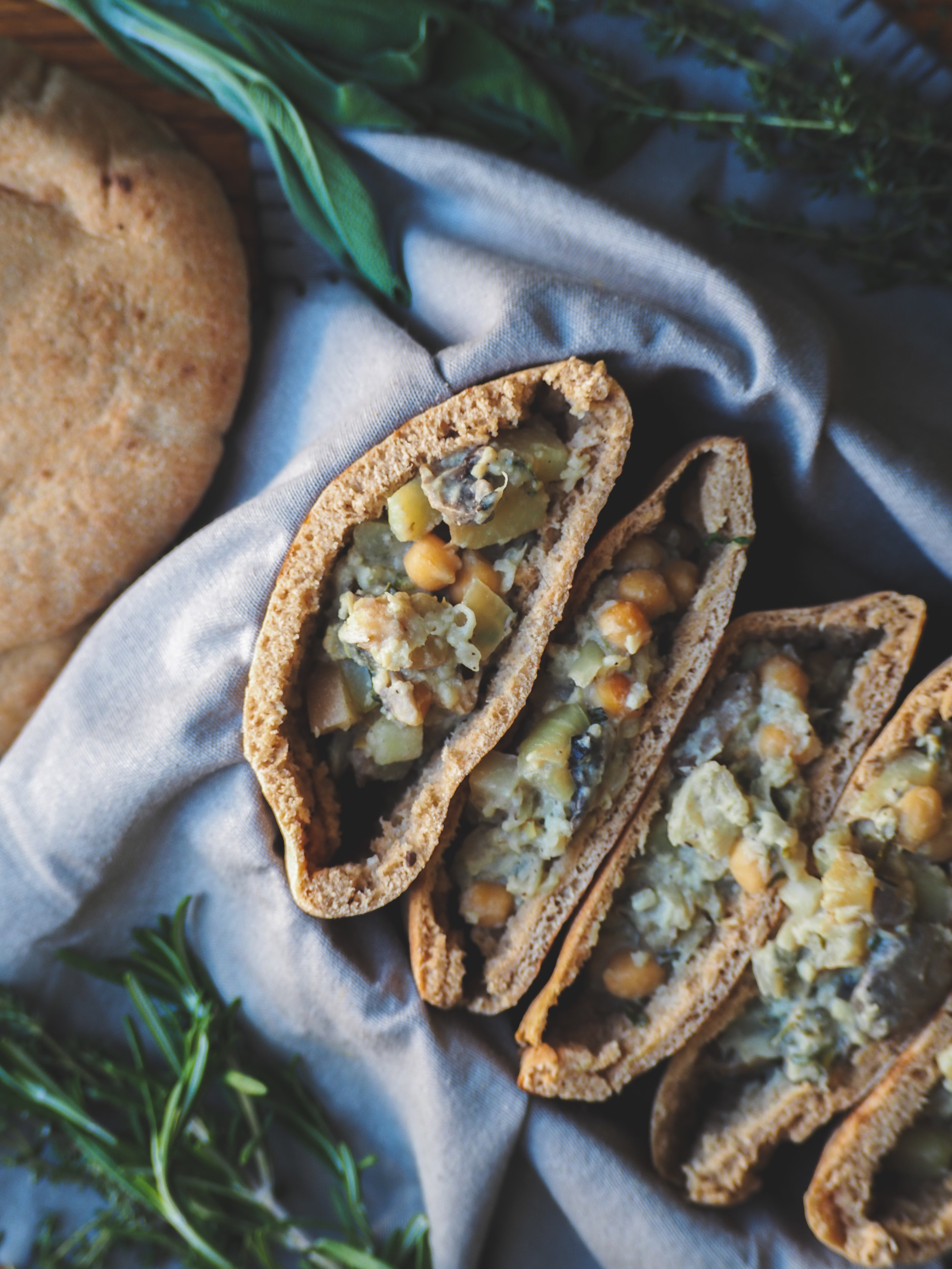 Cauliflower Stuffed Pita with Chickpeas and Fresh Herbs   Plant-Based Vegan, Oil-Free, Delicious, Whole Food Meal
