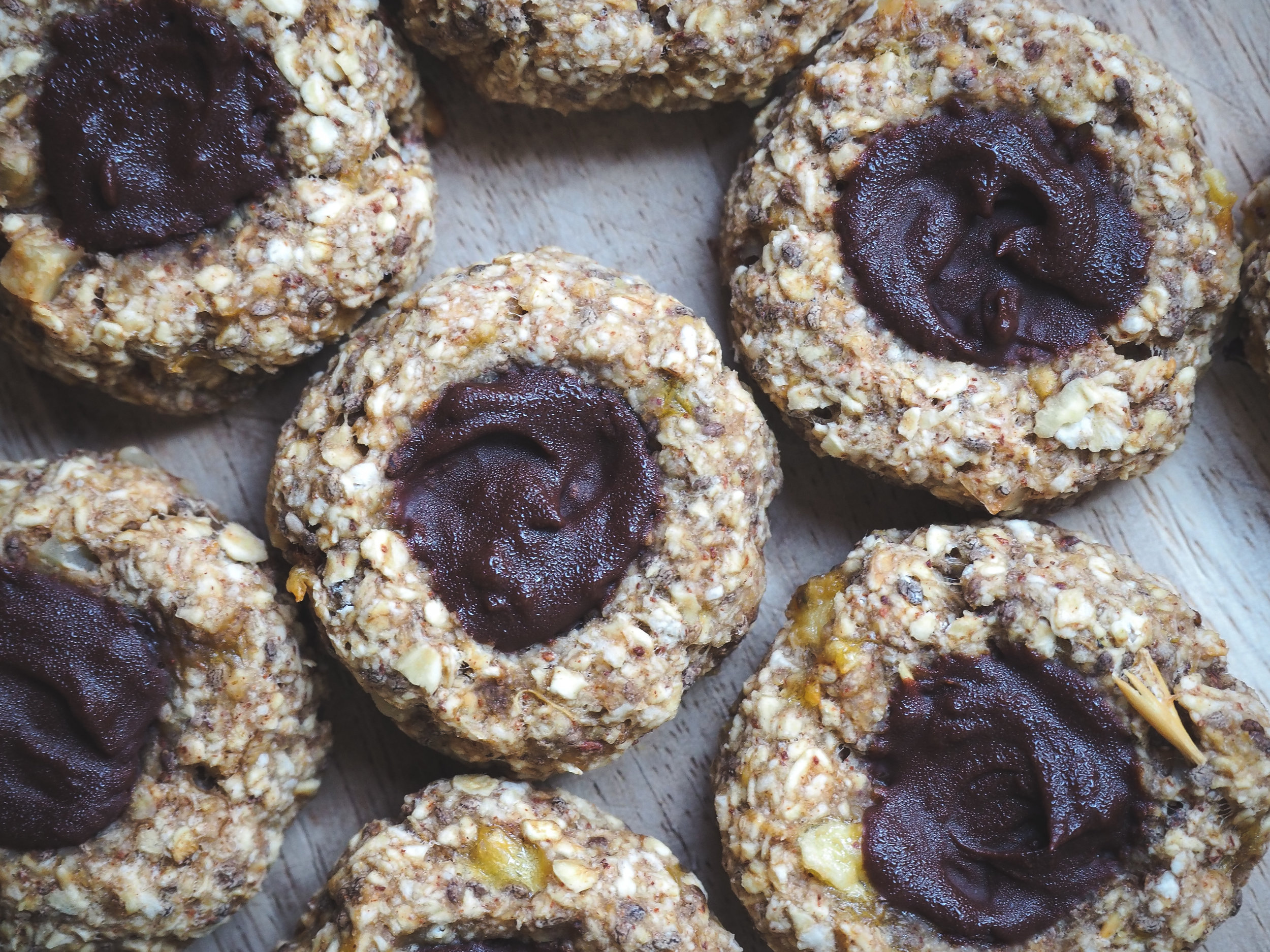 Banana Chocolate Thumbprint Cookies | Healthy Plant-Based Vegan Dessert, Oil-Free, Refined Sugar-Free