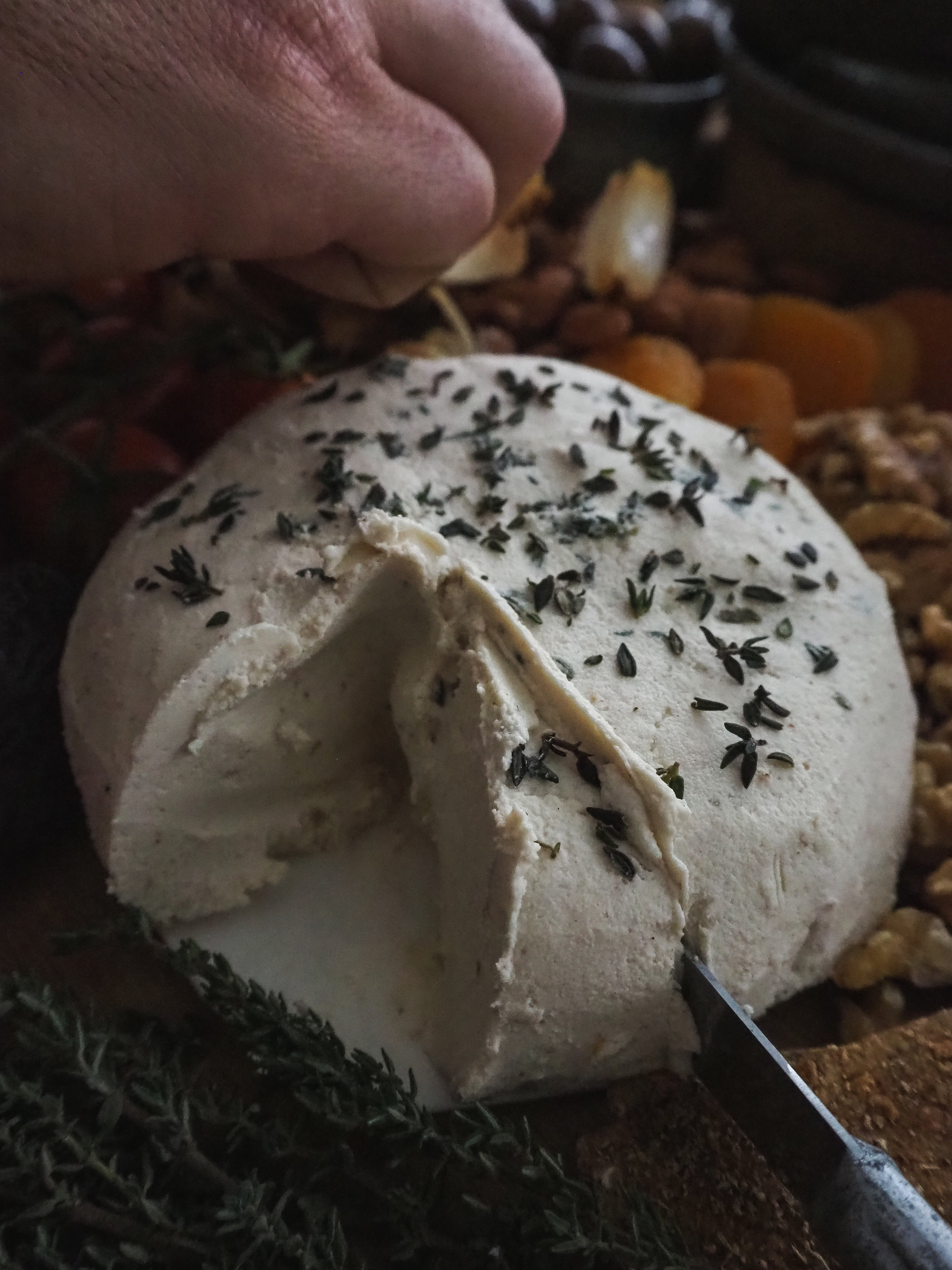 Plant-Based Cheese Wheel with Fresh Thyme | Made from Cashews, Simple Recipe  Photo by © Elena Hollenhorst