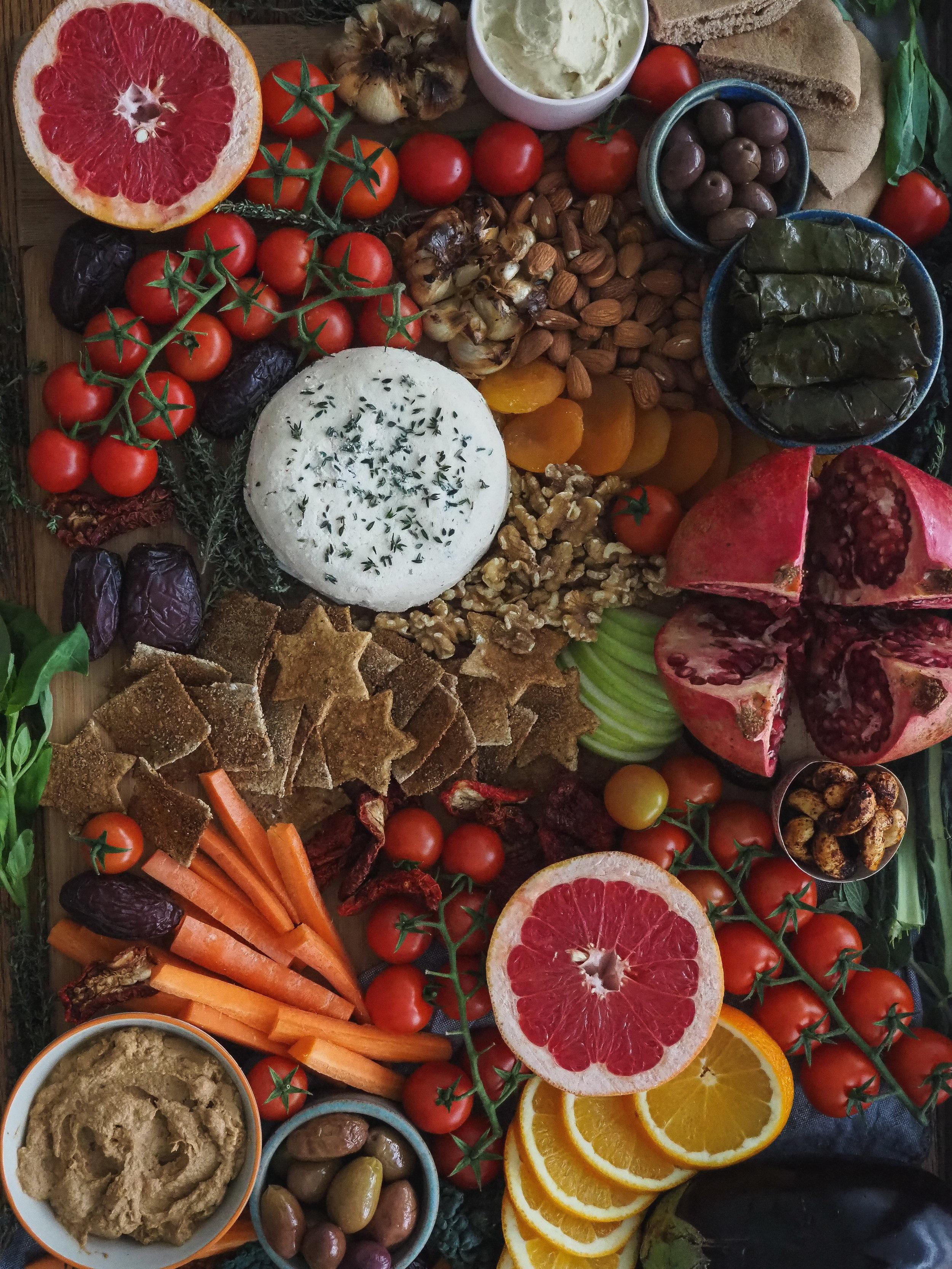 Vegan Appetizer Party Platter / Snack Board Spread | Plant-Based, Homemade  All Rights Reserved © Elena Hollenhorst
