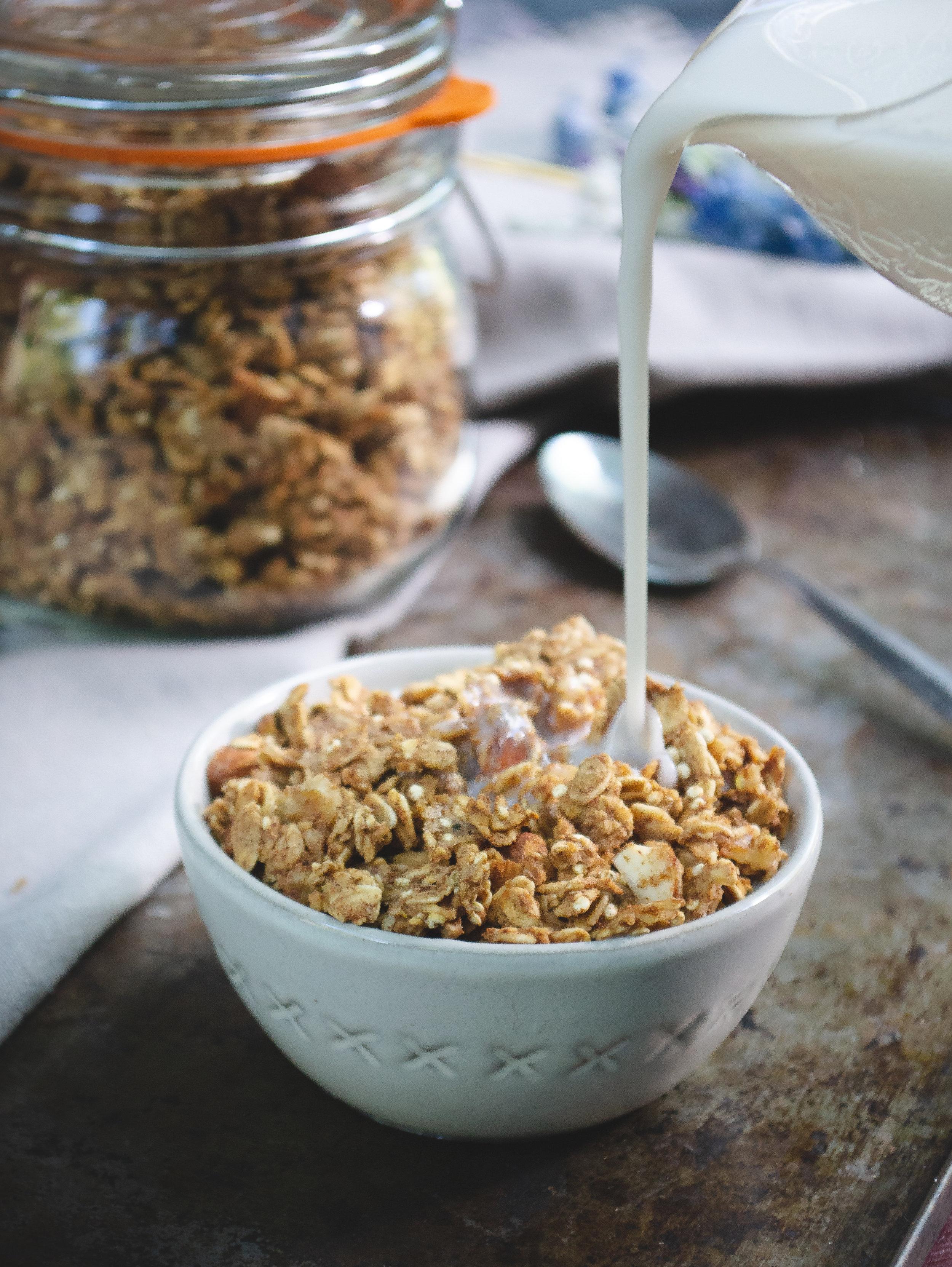 Homemade Cashew Milk Recipe | PICTURED: Granola and homemade cashew milk.  © Elena Hollenhorst